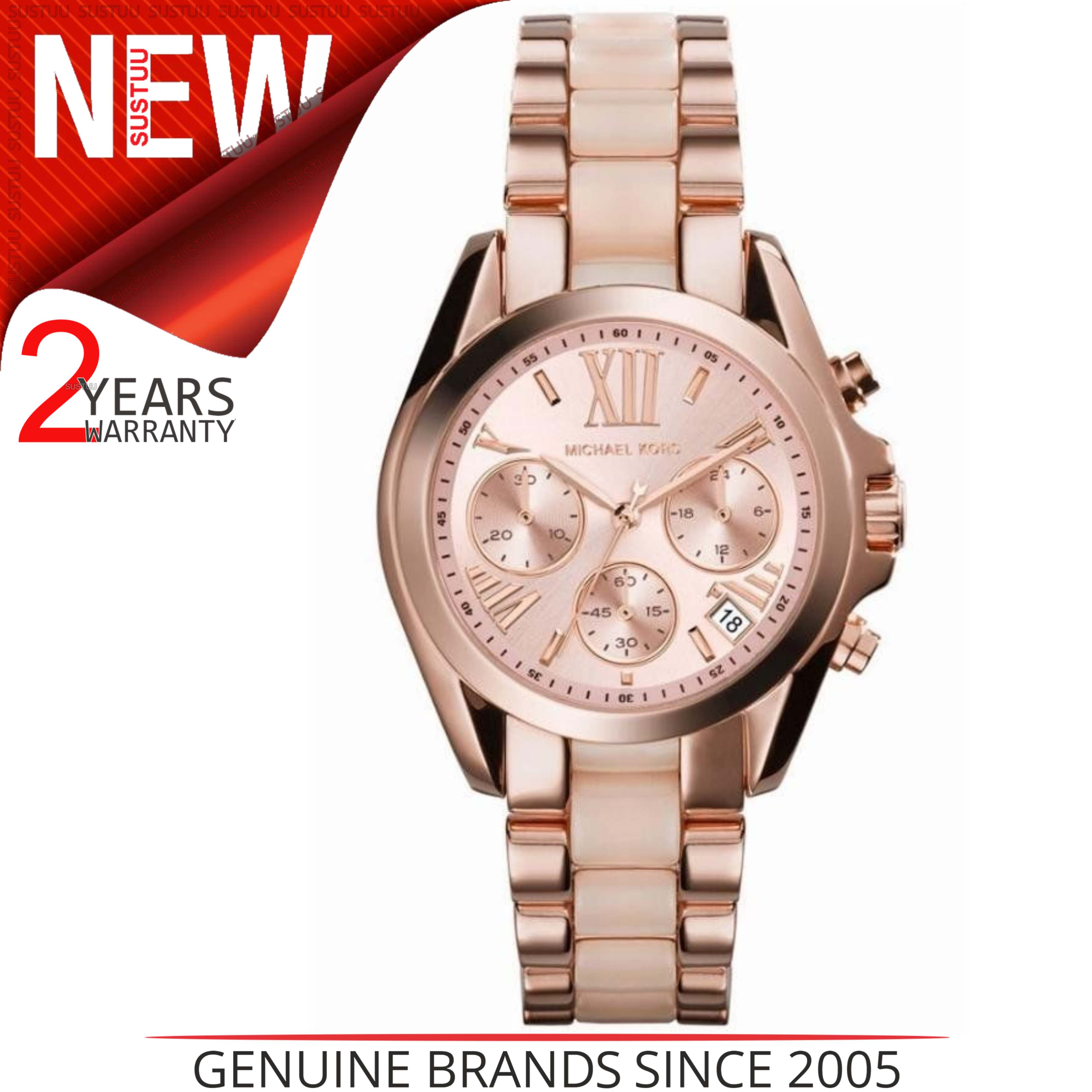 Michael Kors Bradshaw Ladies Rose Gold Dial Chrono Design Round