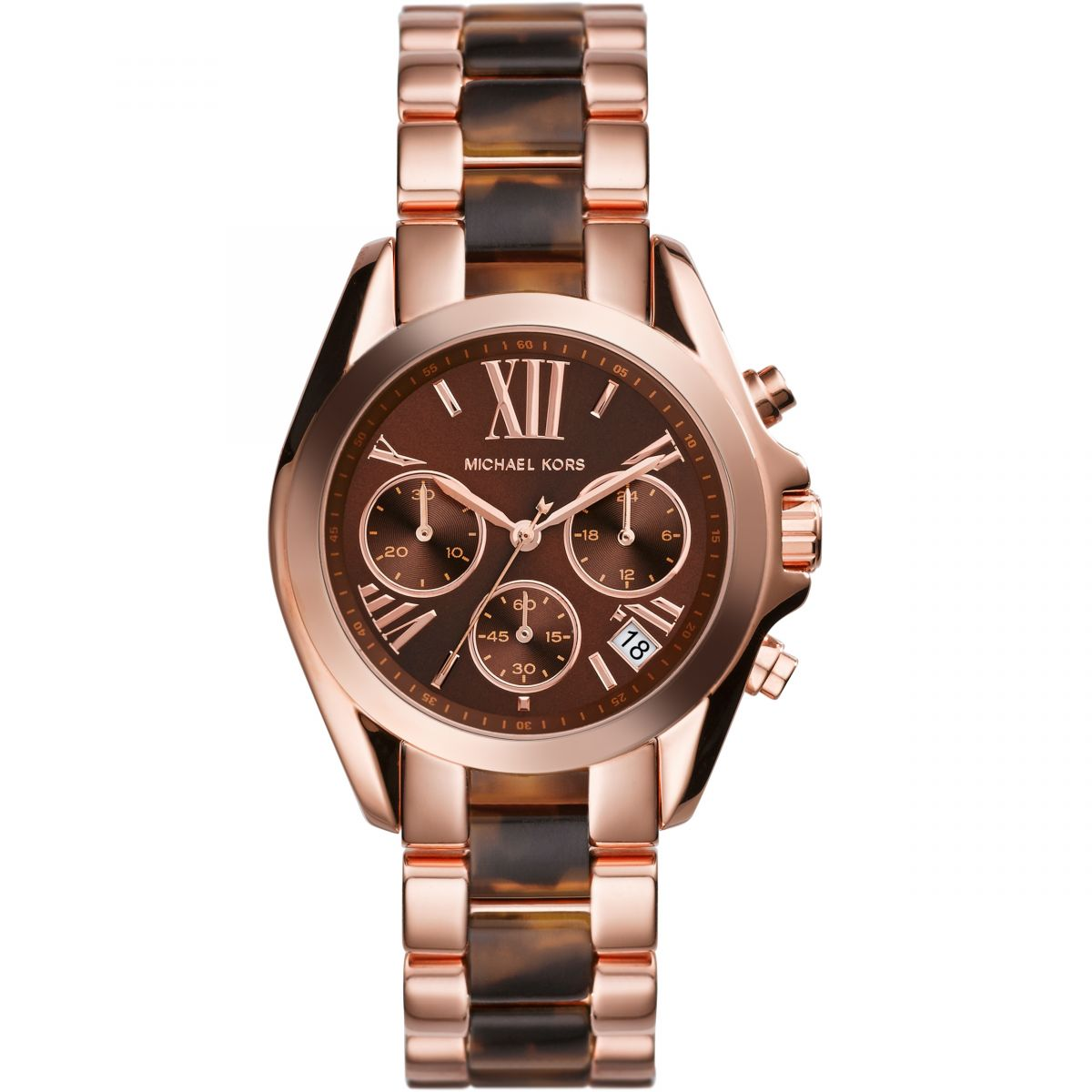6872314bd27 Sentinel Michael Kors Bradshaw Chronograph Brown Dial Rose Gold-tone Ladies  Watch MK5944