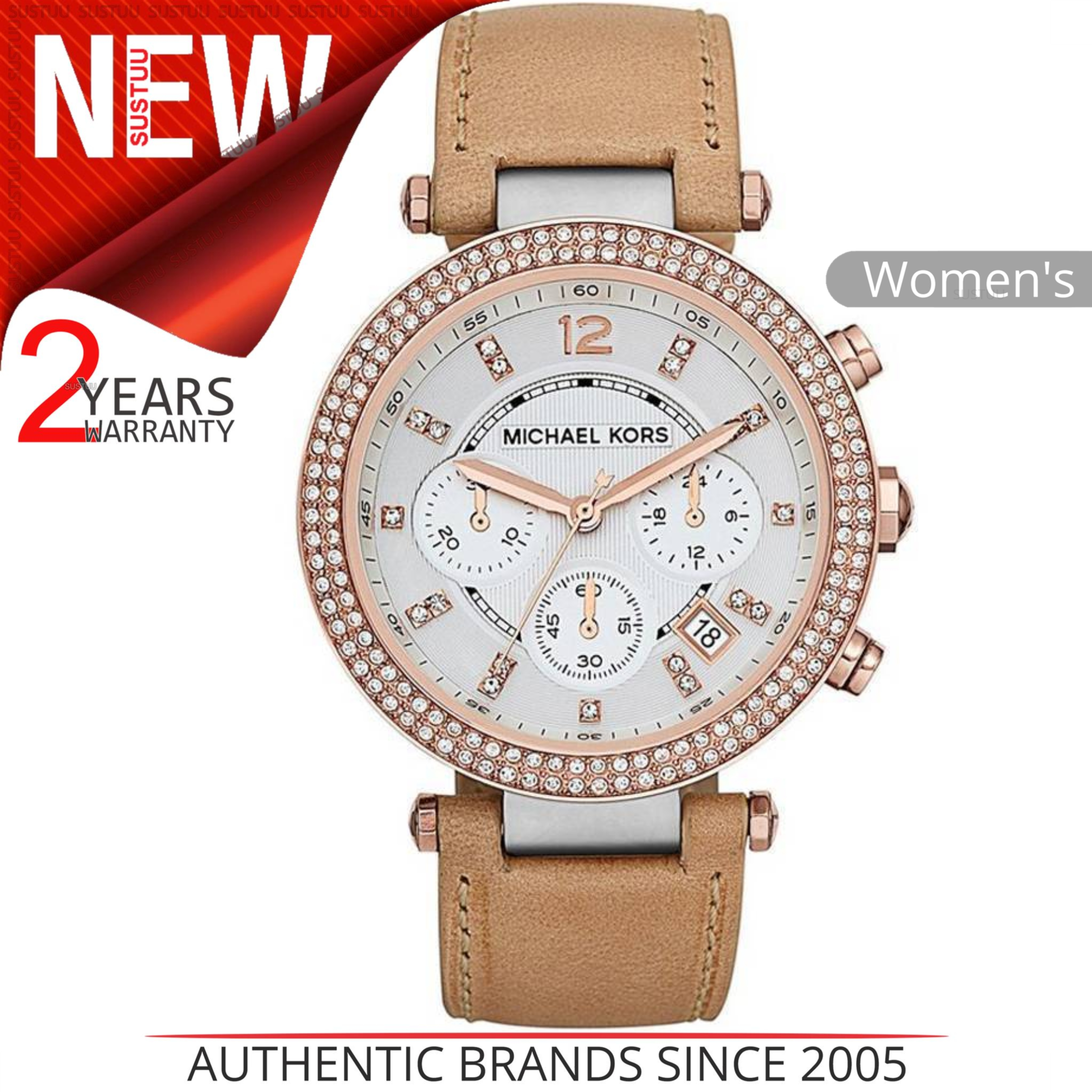7585d1bf0 Details about Michael Kors Parker Chronograph Tan Leather Beige Calfskin  Ladies Watch MK5633