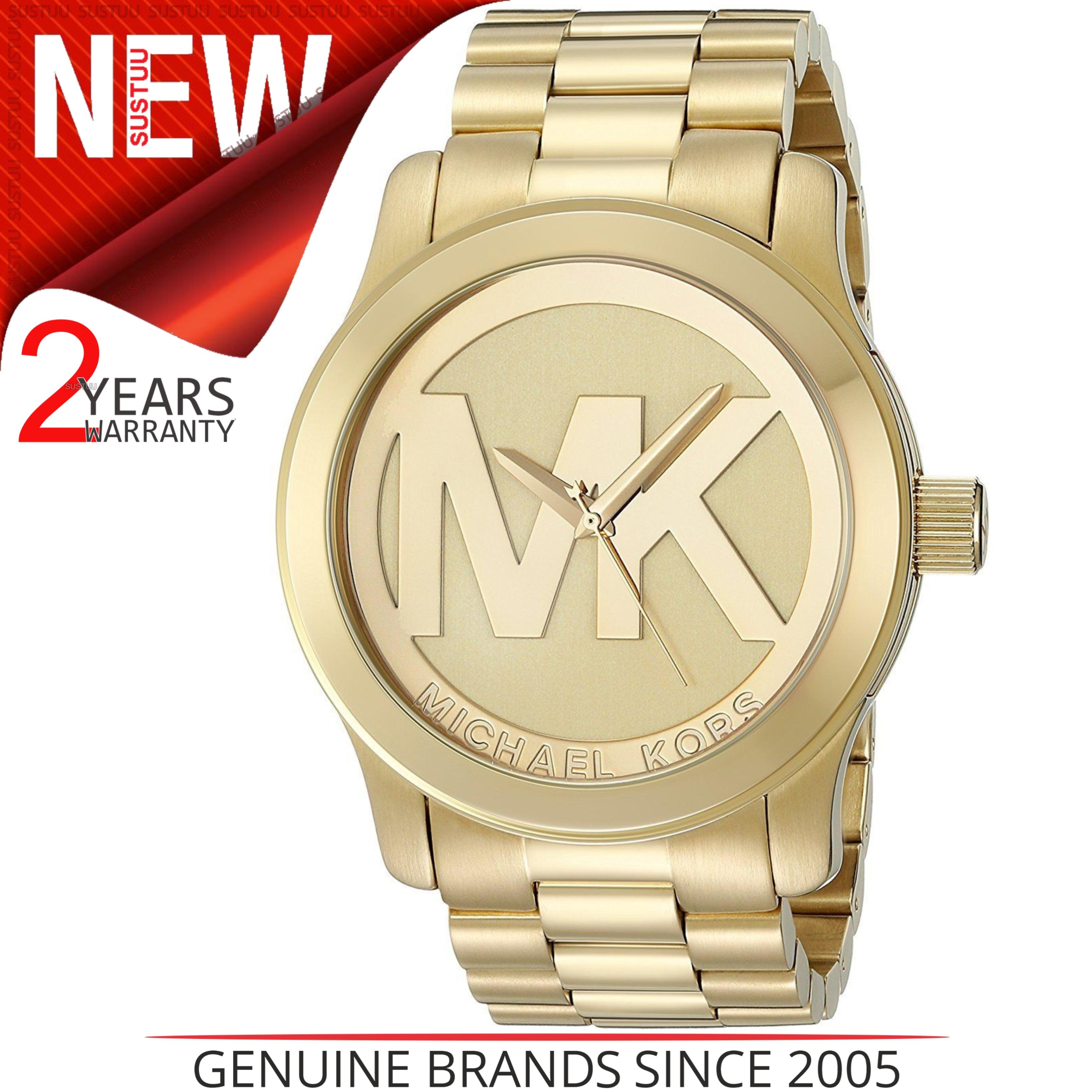 2e60df55b30b Sentinel Michael Kors Runway Quartz Gold-tone Bracelet MK Logo Dial Ladies  Watch MK5473
