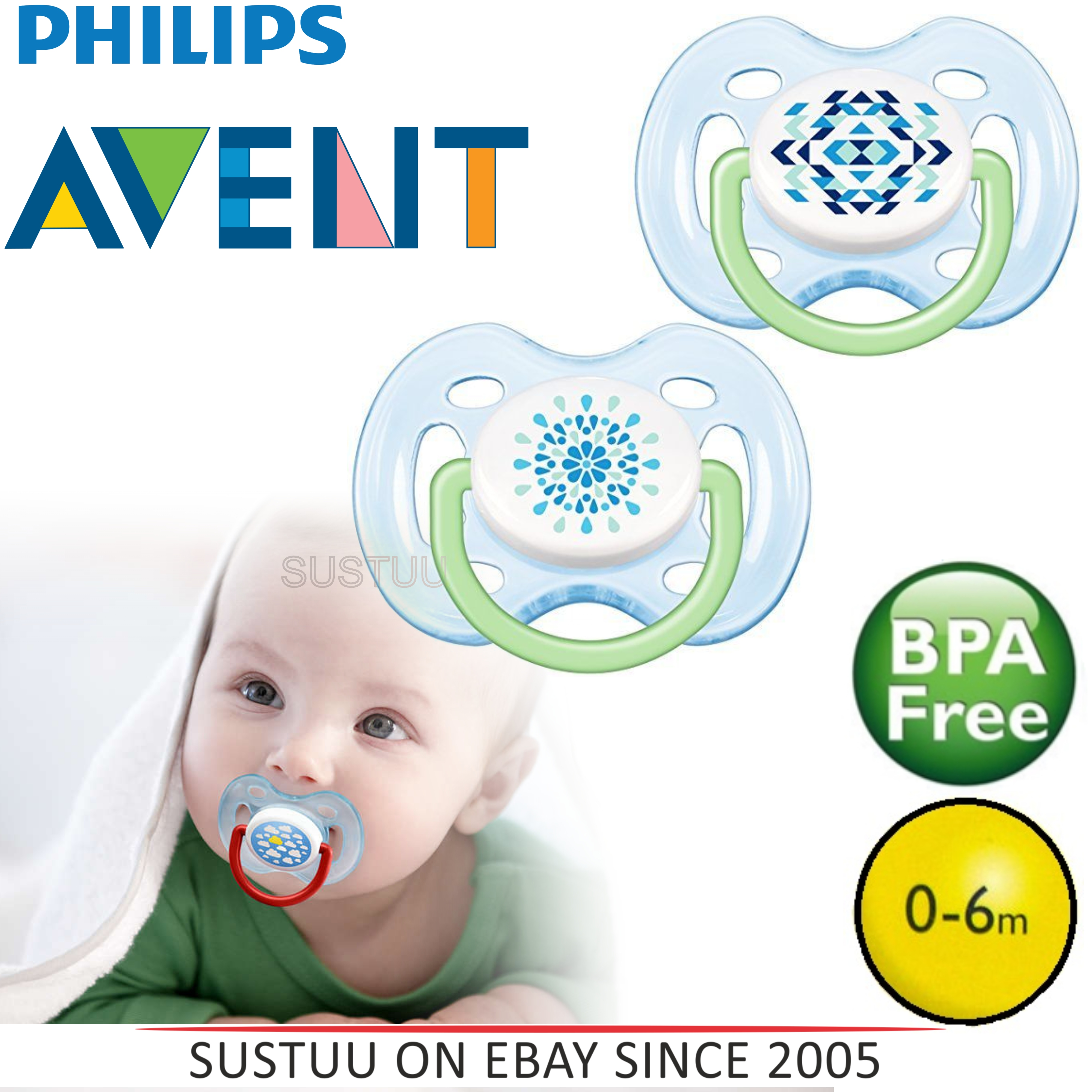 Avent Orthodontic Extra Freeflow Dummy Pacifier Contemporary Baby Soother Blue