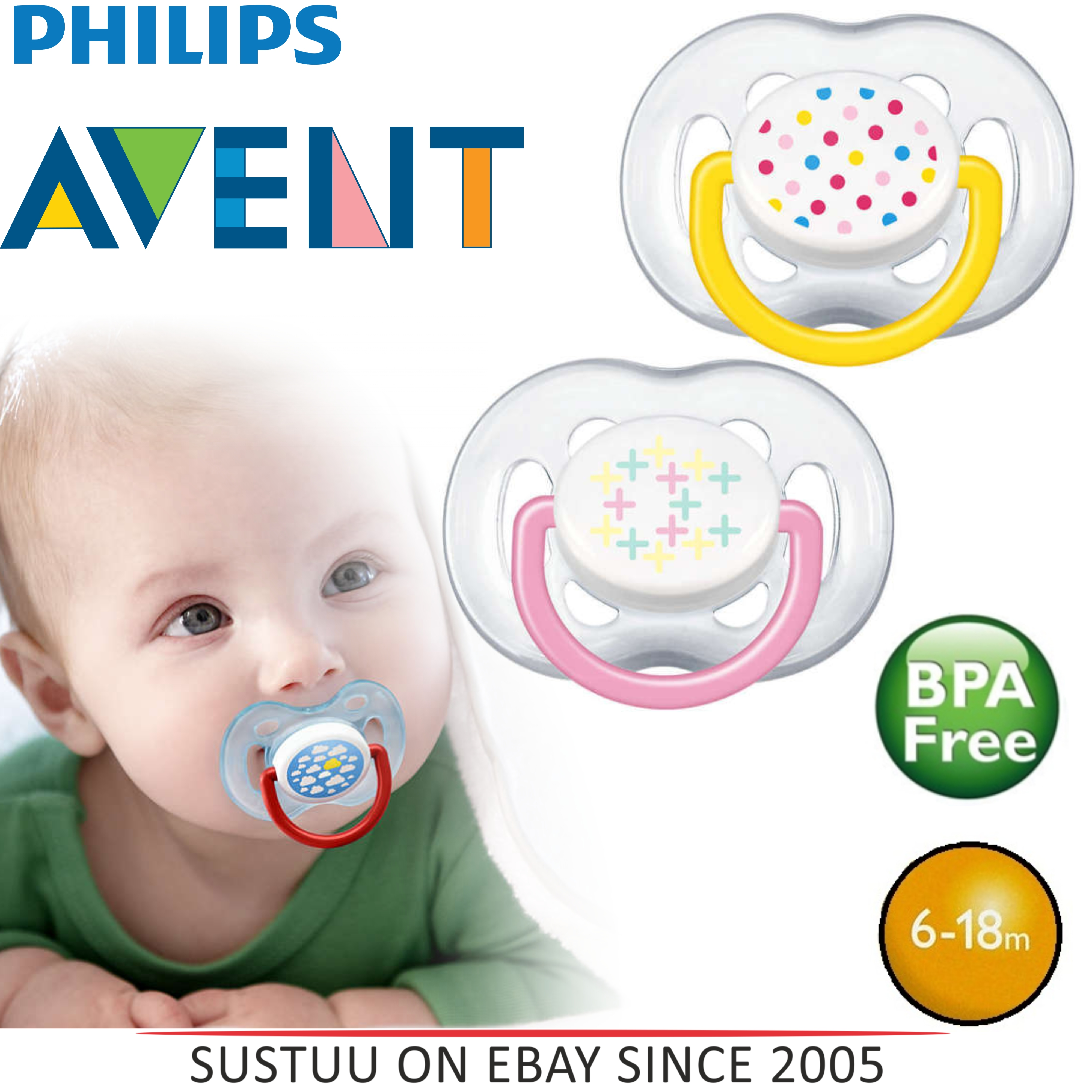 Avent Orthodontic Contemporary Extra Freeflow Dummy Pacifier Baby Soother P/Y