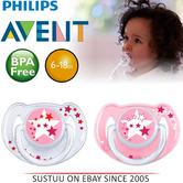 Avent Glow in Dark Orthodontic Baby Soother Pacifier Dummy Night Silicone Pink