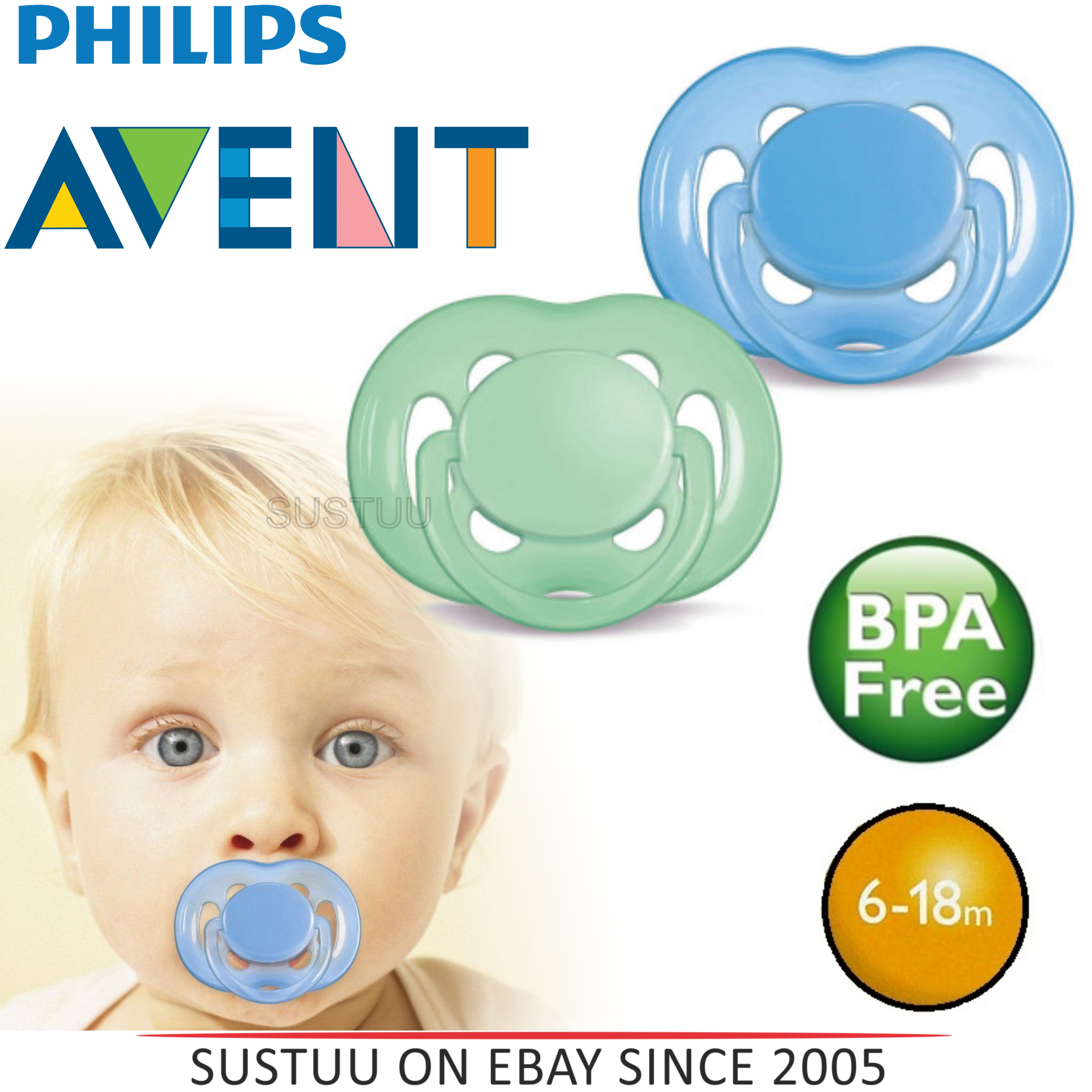 Avent Orthodontic Dummy Pacifier Baby Infant Freeflow Silicone Teat Soother B/G