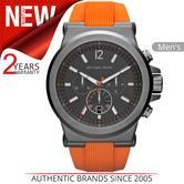Michael Kors Dylan Men's Watch|Black Gunmetal IP Dial|Orange Rubber Strap|MK8296