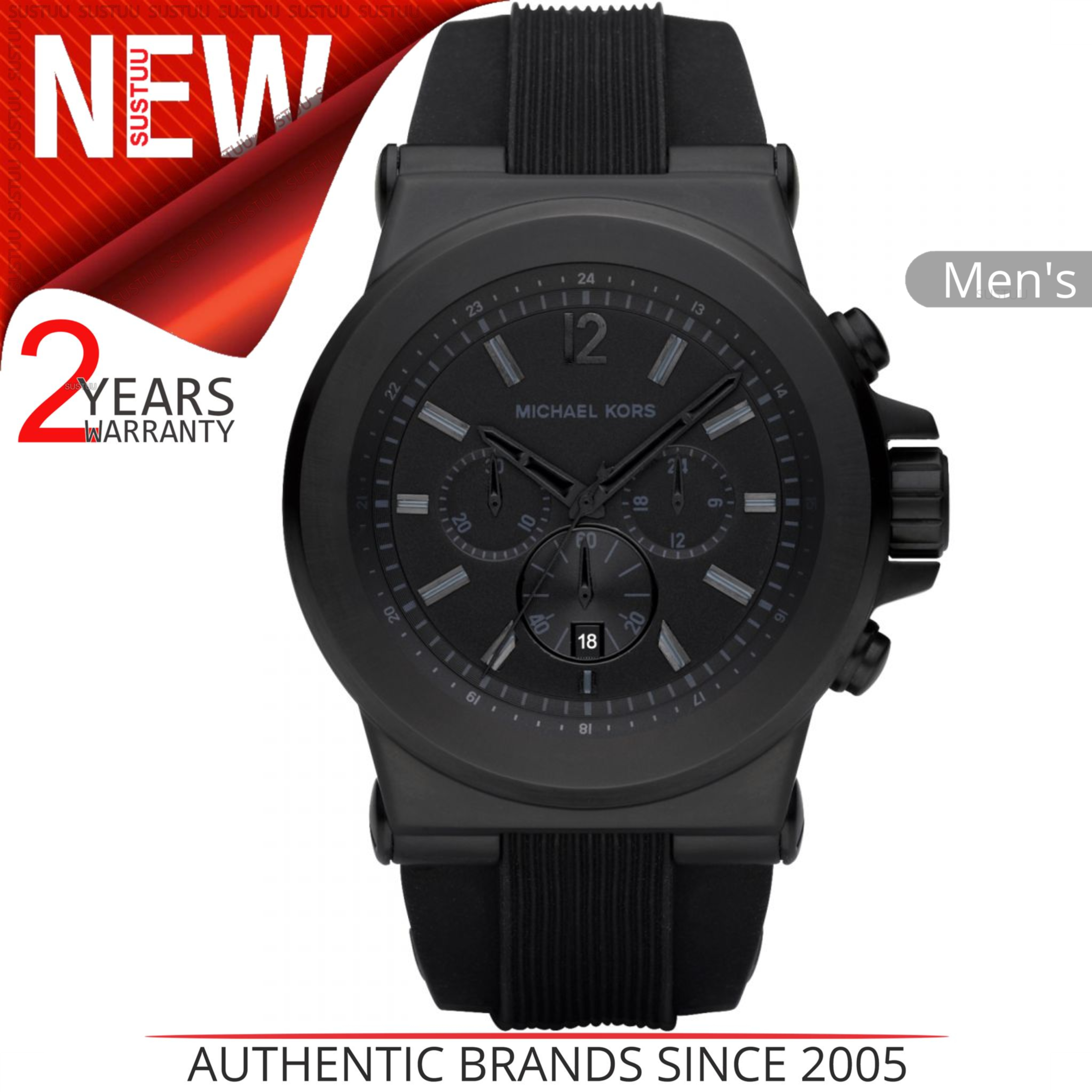 b31d6196beaa Details about Michael Kors Dylan Men s Watch MK8152│Black Chronograph Round  Dial│Silicon Strap