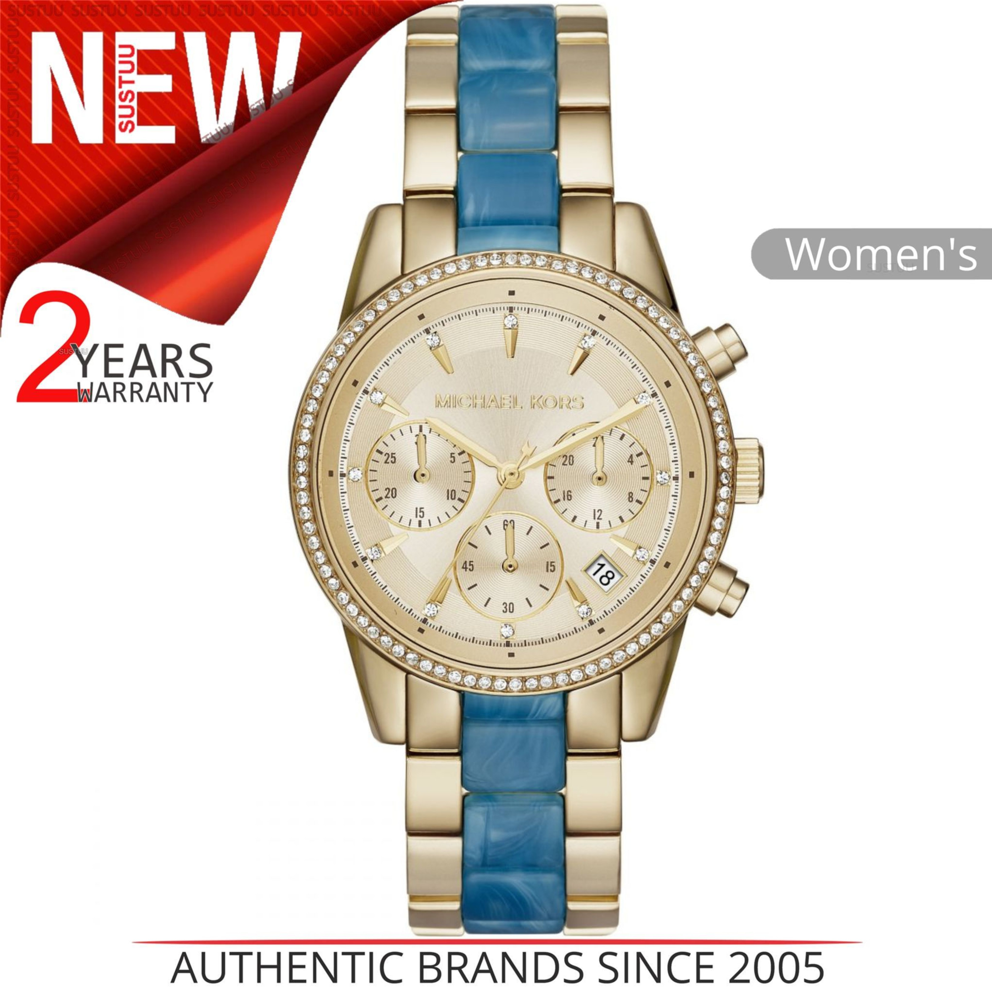 50120b4c4 Details about Michael Kors Ritz Gold Tone Chronograph Dial Stainless Steel  Ladies Watch MK6328
