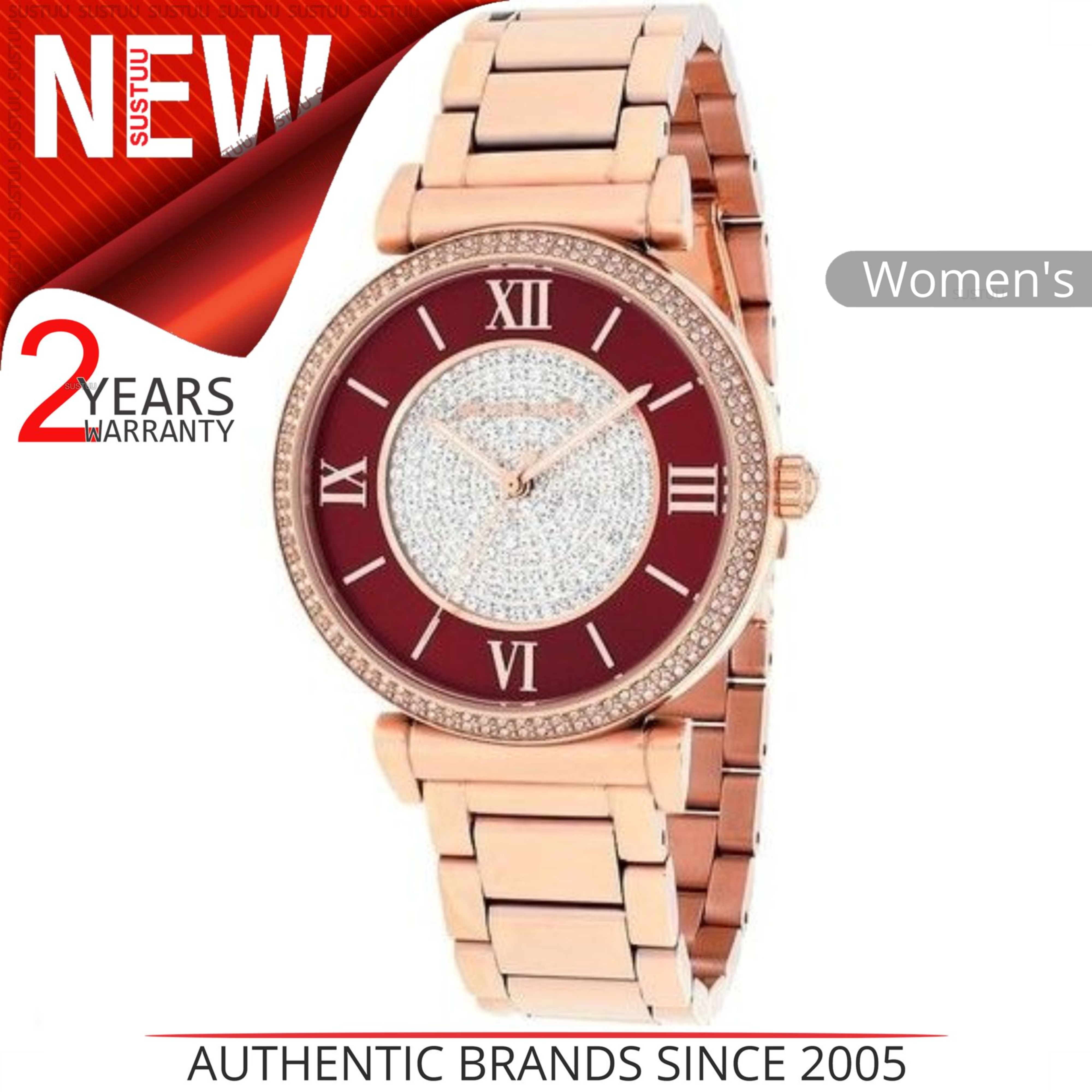 541d3915d6df7 Details about Michael Kors Caitlin Women Watch MK3377│Red Crystal Dial│Rose  Gold Bracelet Band