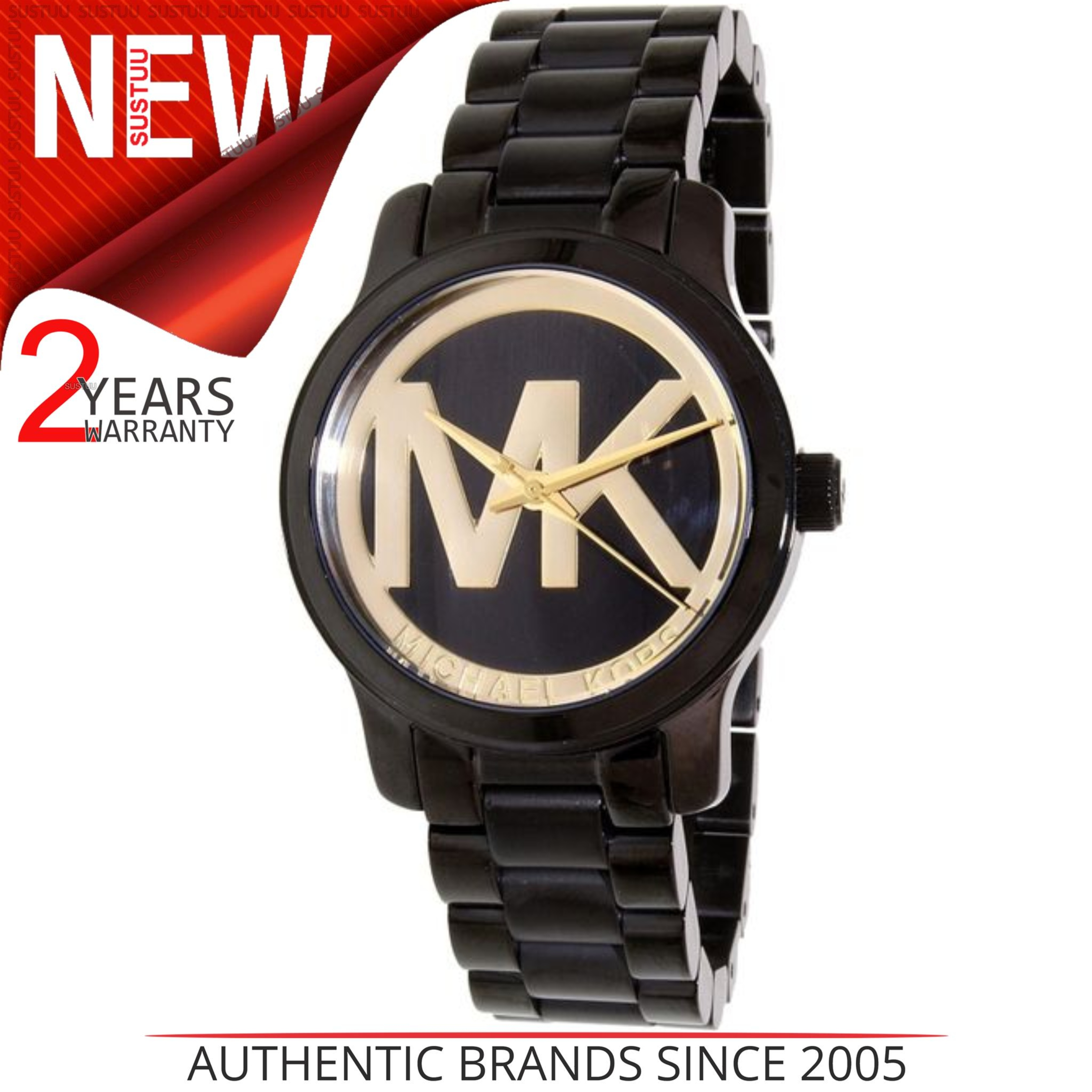 22953859b1e47 Details about Michael Kors Runway Black-Gold MK Logo Dial black Ion-plated  Ladies Watch MK6057