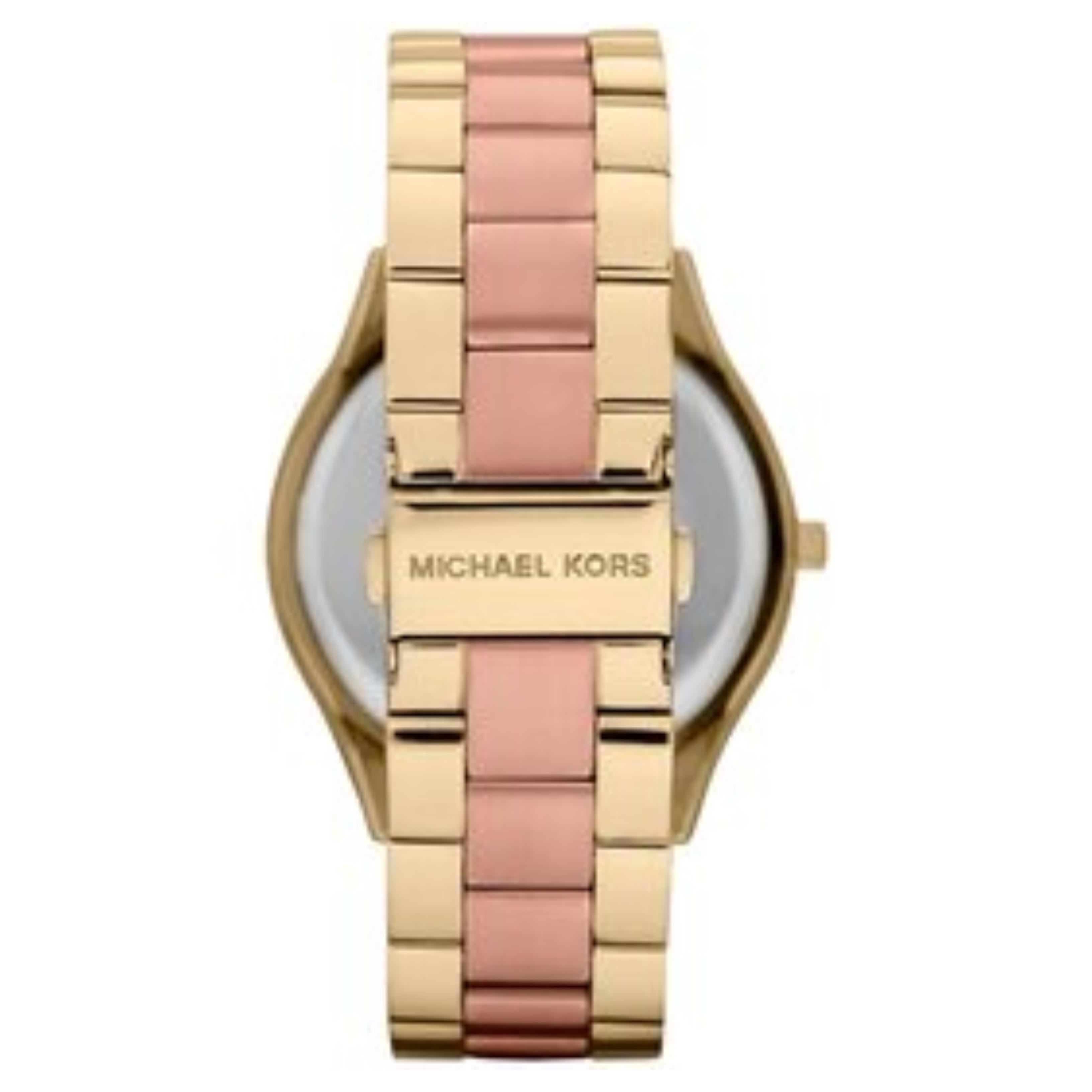 89a2af9c7c13 Sentinel Michael Kors Slim Runway RoseGold Dial Ladies Two Tone Strap  Ladies Watch MK3493