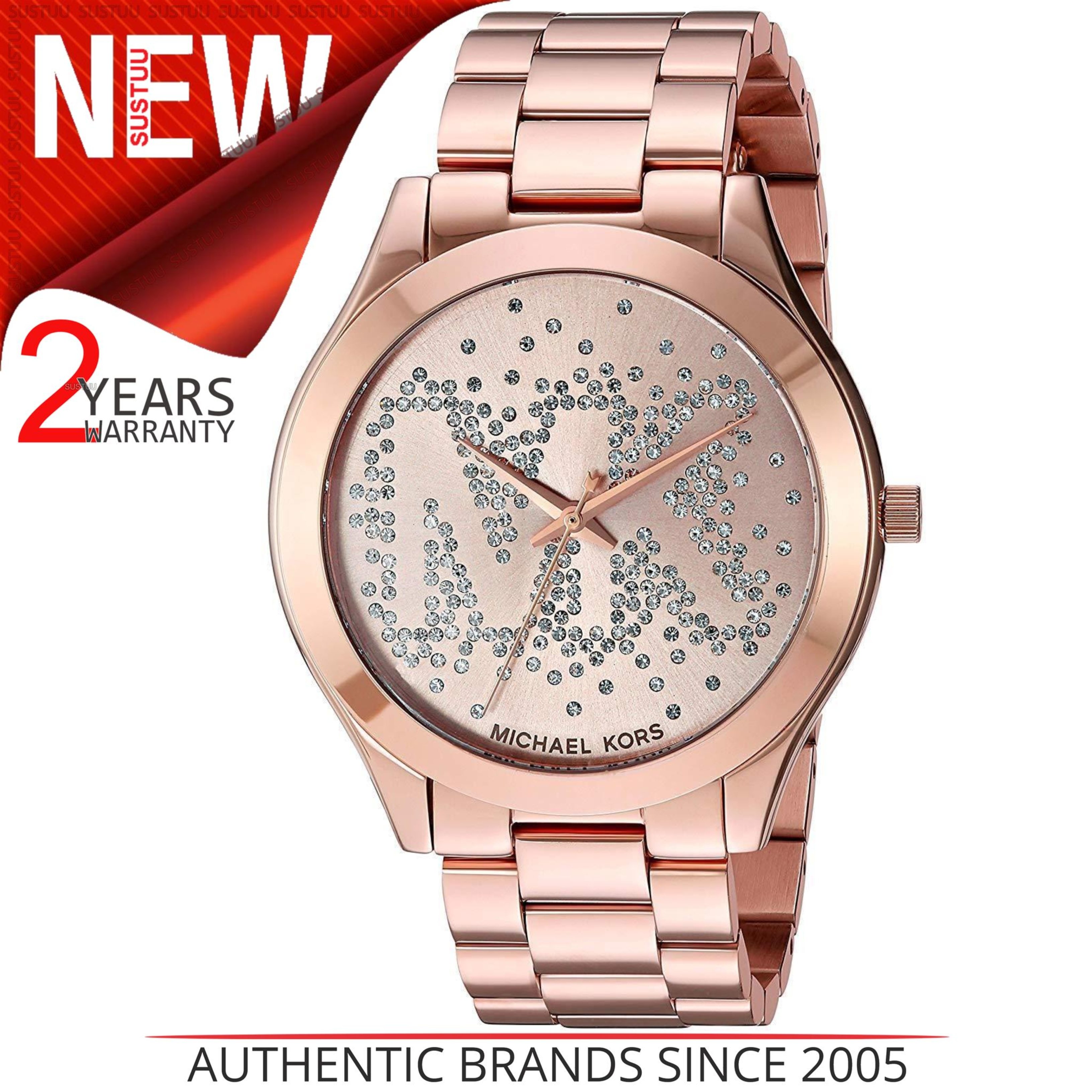 a3286f17f704 Sentinel Michael Kors Slim Runway Crystal Pave MK Logo Dial Rose Gold Ladies  Watch MK3591