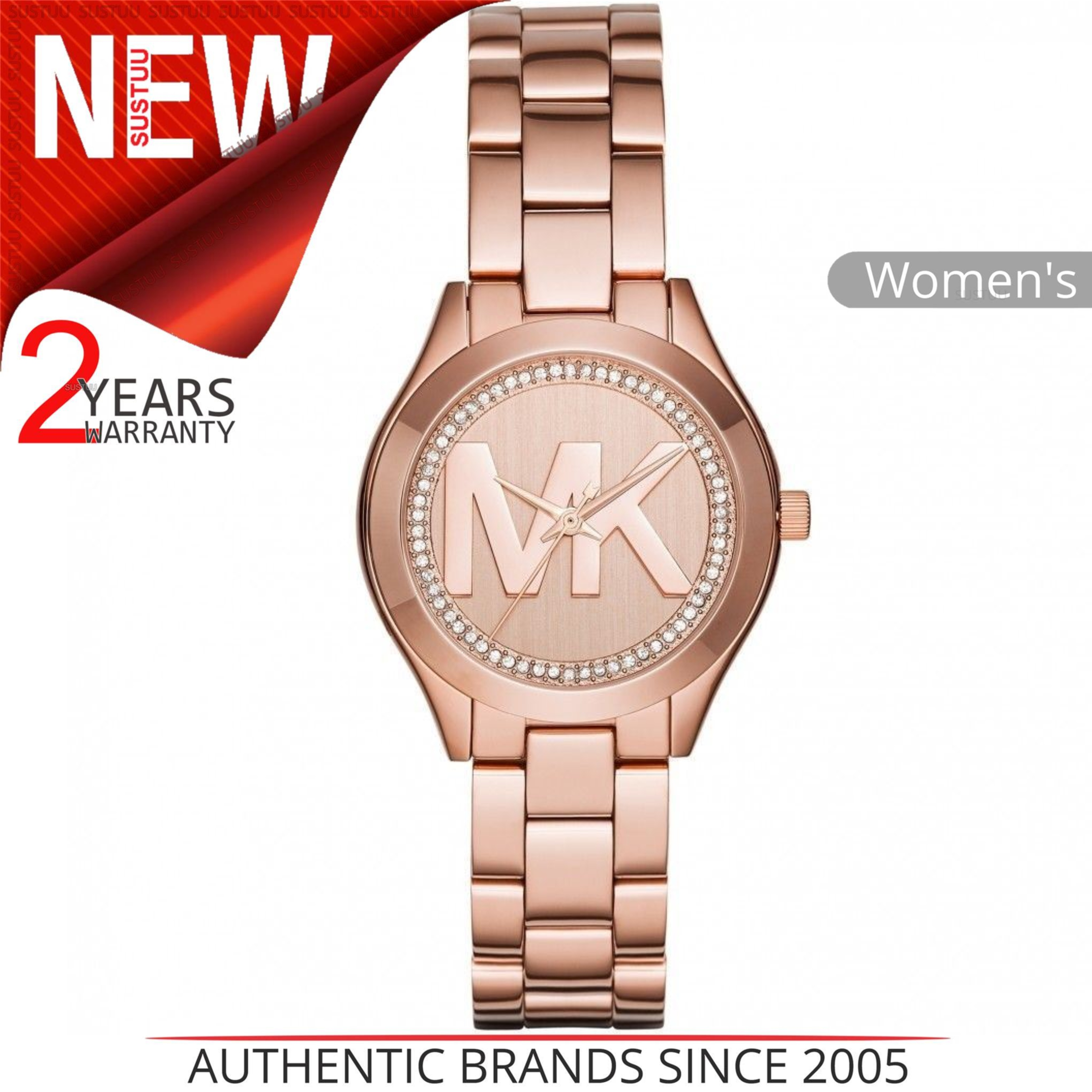 5ec3bf41ac41 Details about Michael Kors Mini Slim Runway MK Logo Dial Rose Gold Ladies  Crystal Watch MK3549