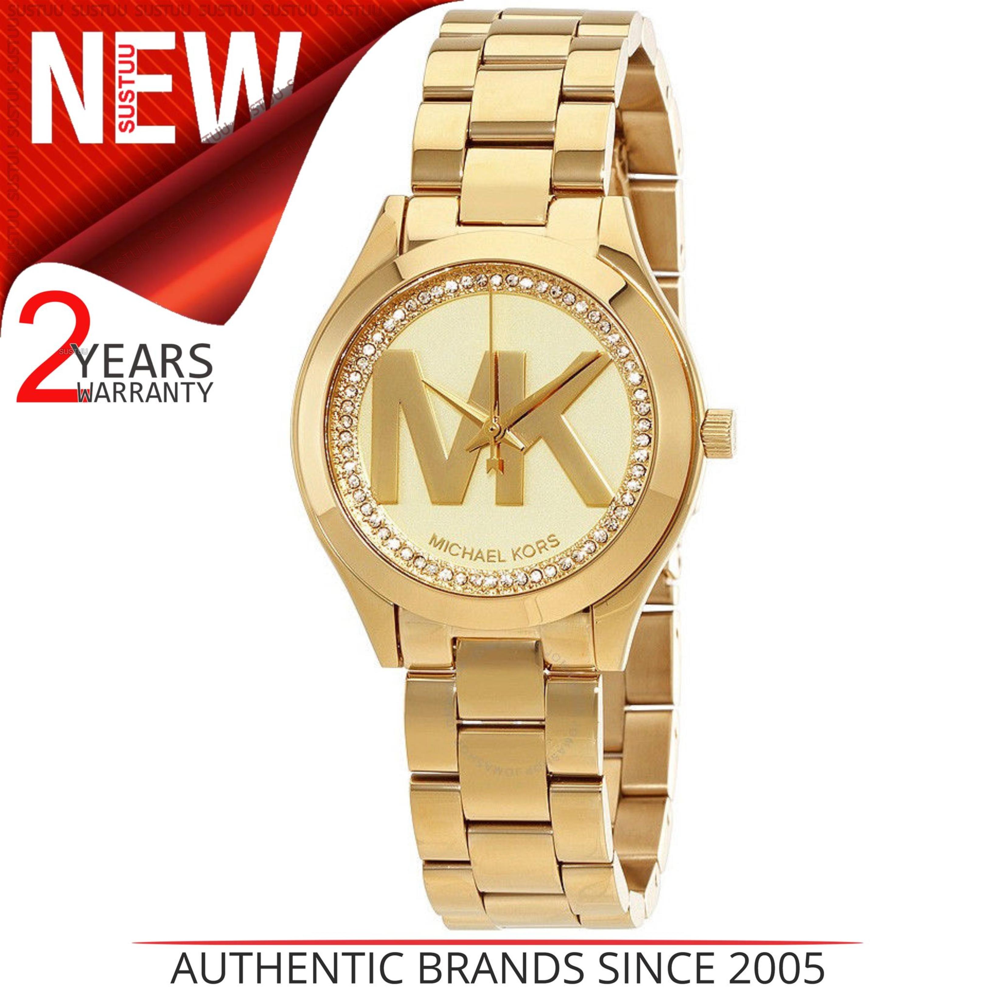 3990eb063bd0 Details about Michael Kors Mini Slim Runway MK Logo Dial Ladies Gold Tone  Formal Watch MK3477