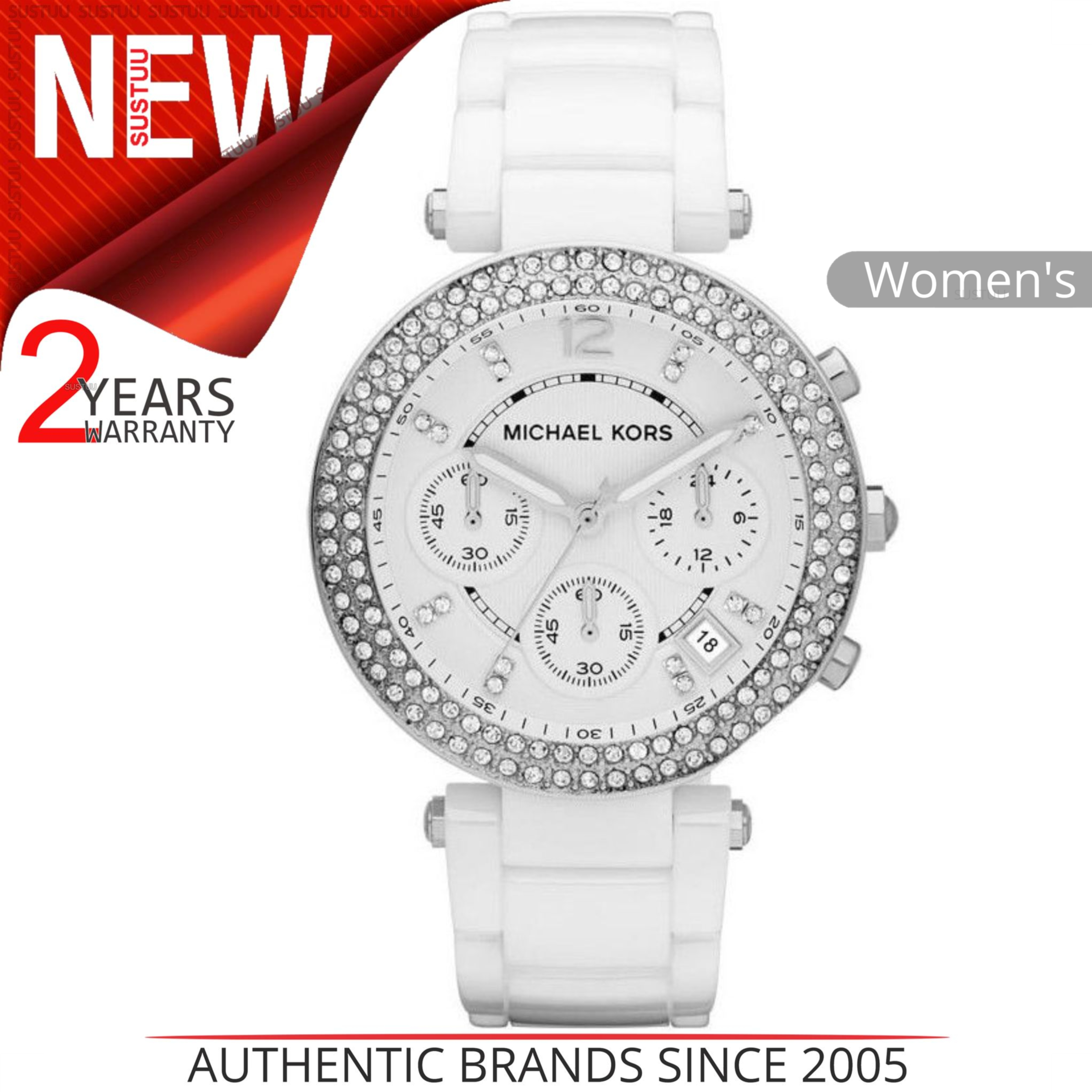 ab3810a9c Details about Michael Kors Parker Ladies Watch MK5654│Crystal Chrono Dial│White  Ceramic Strap