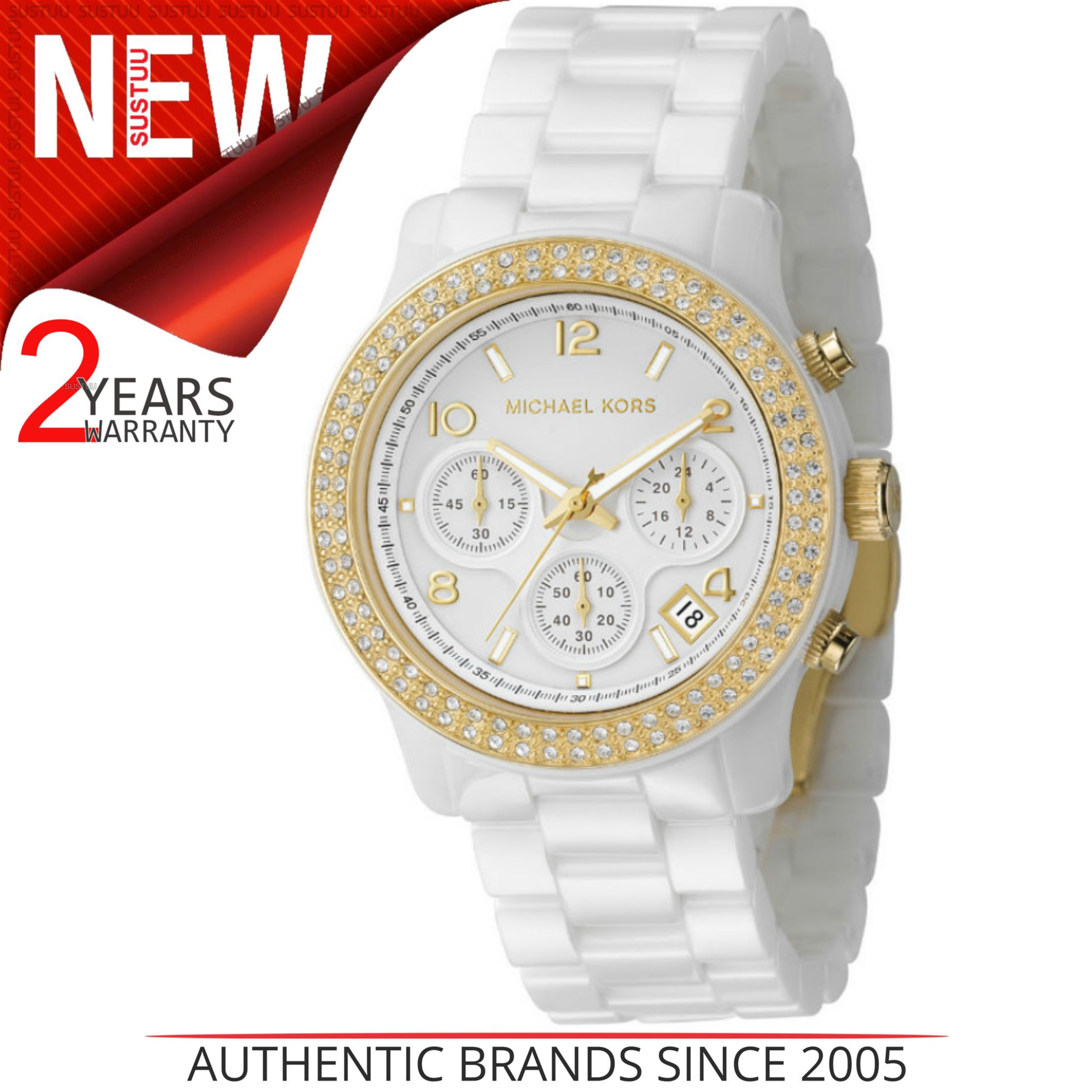 5117c50dc Details about Michael Kors Chronograph Crystal Dial Ceramic White GoldTone  Ladies Watch MK5237