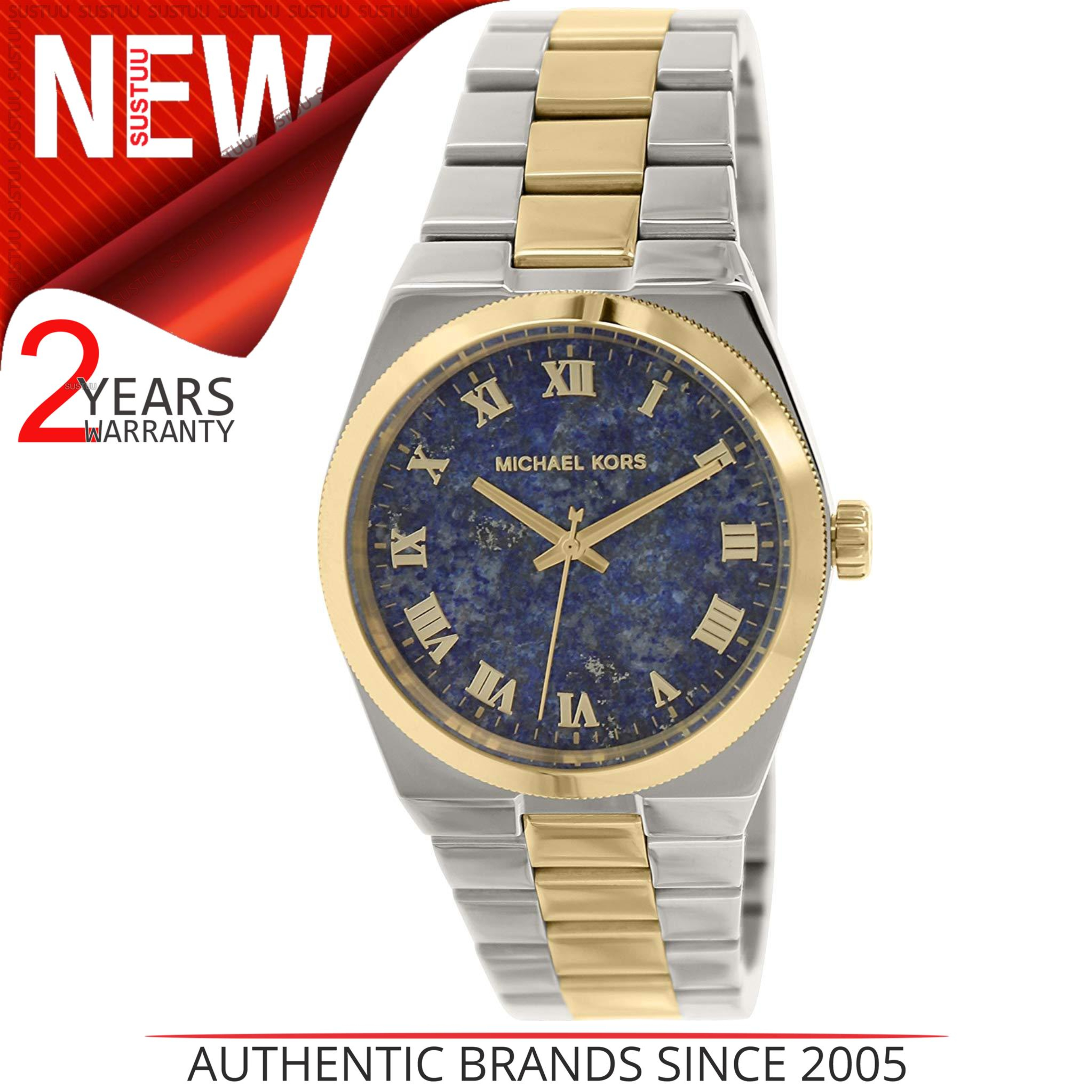 0d3ed7304f11 Details about Michael Kors Mercer Channing Blue Lapis Dial 2 Tone Luxurious  Women Watch MK5893