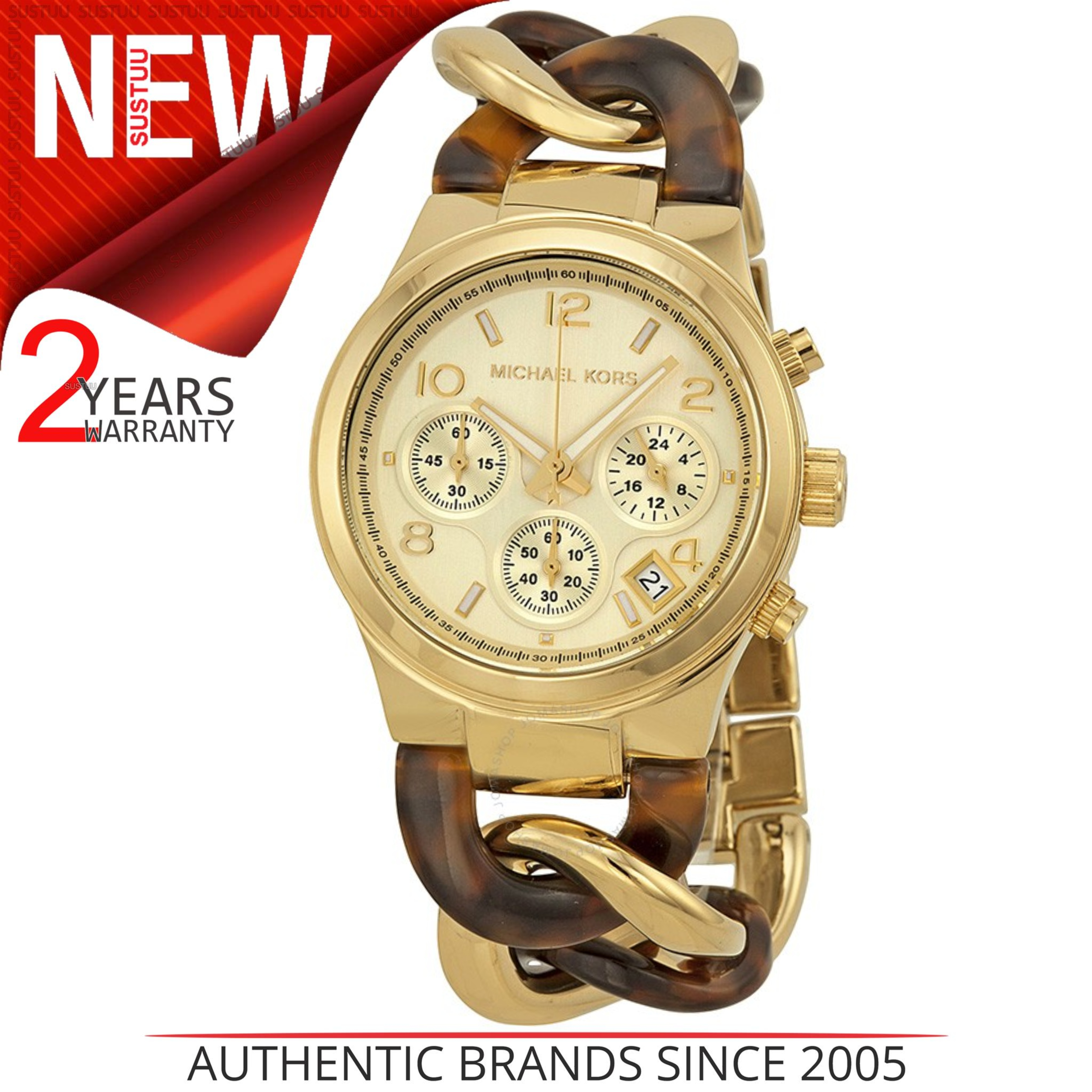 73d639ccaab9 Details about Michael Kors Chain Link Ladies Watch MK4222│Chronograph│Tortoise  Acrylic Gold