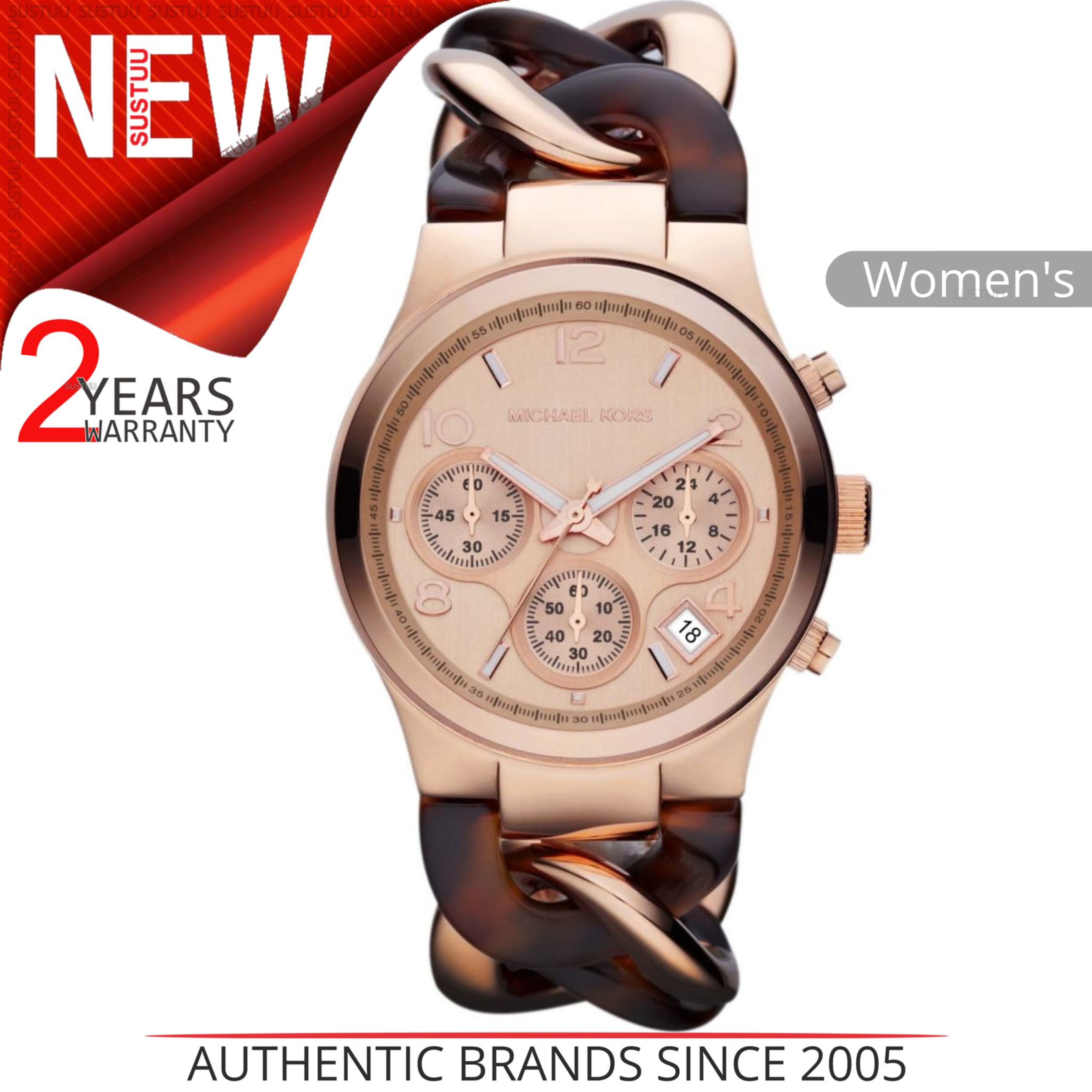 2d1903f78263 Details about Michael Kors Runway Ladies Watch MK4269│Tortoise Twist Rose  Gold Tone│Chain Link