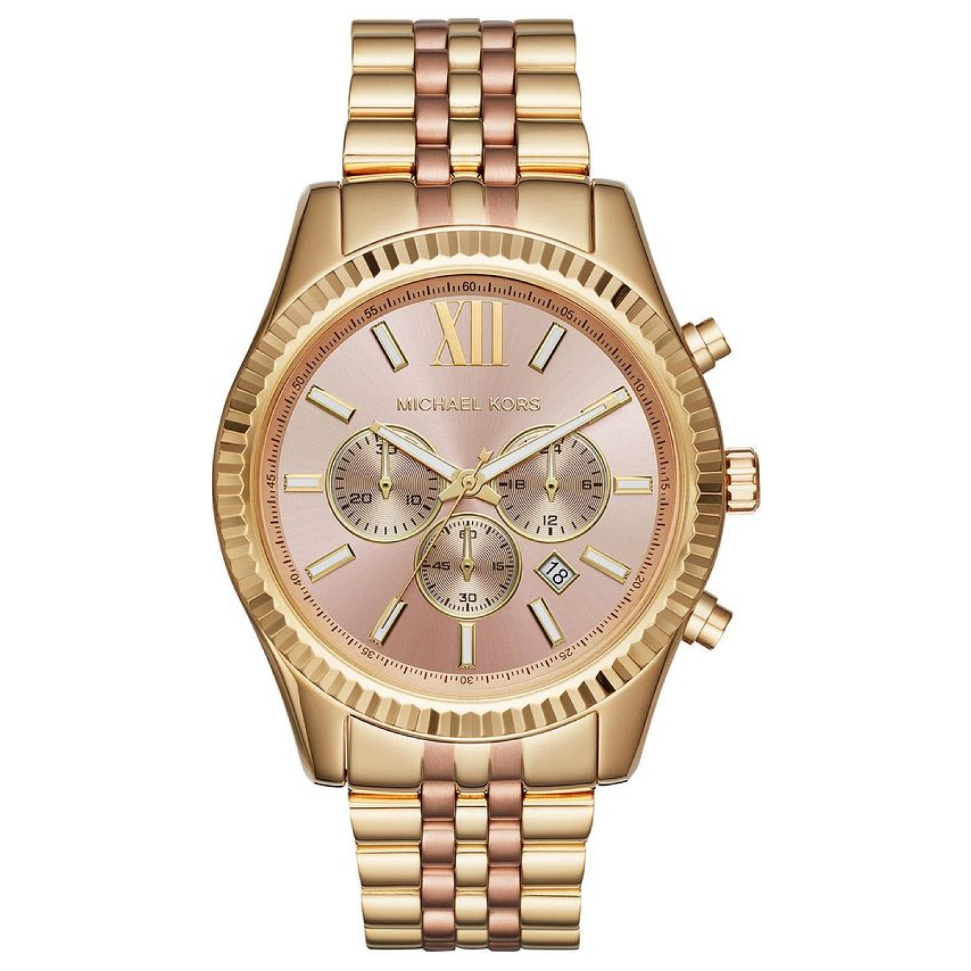 d00812f822057 Sentinel Michael Kors Lexington Rose Gold Dial Ladies Watch│Chronograph│Gold  Strap│MK6473