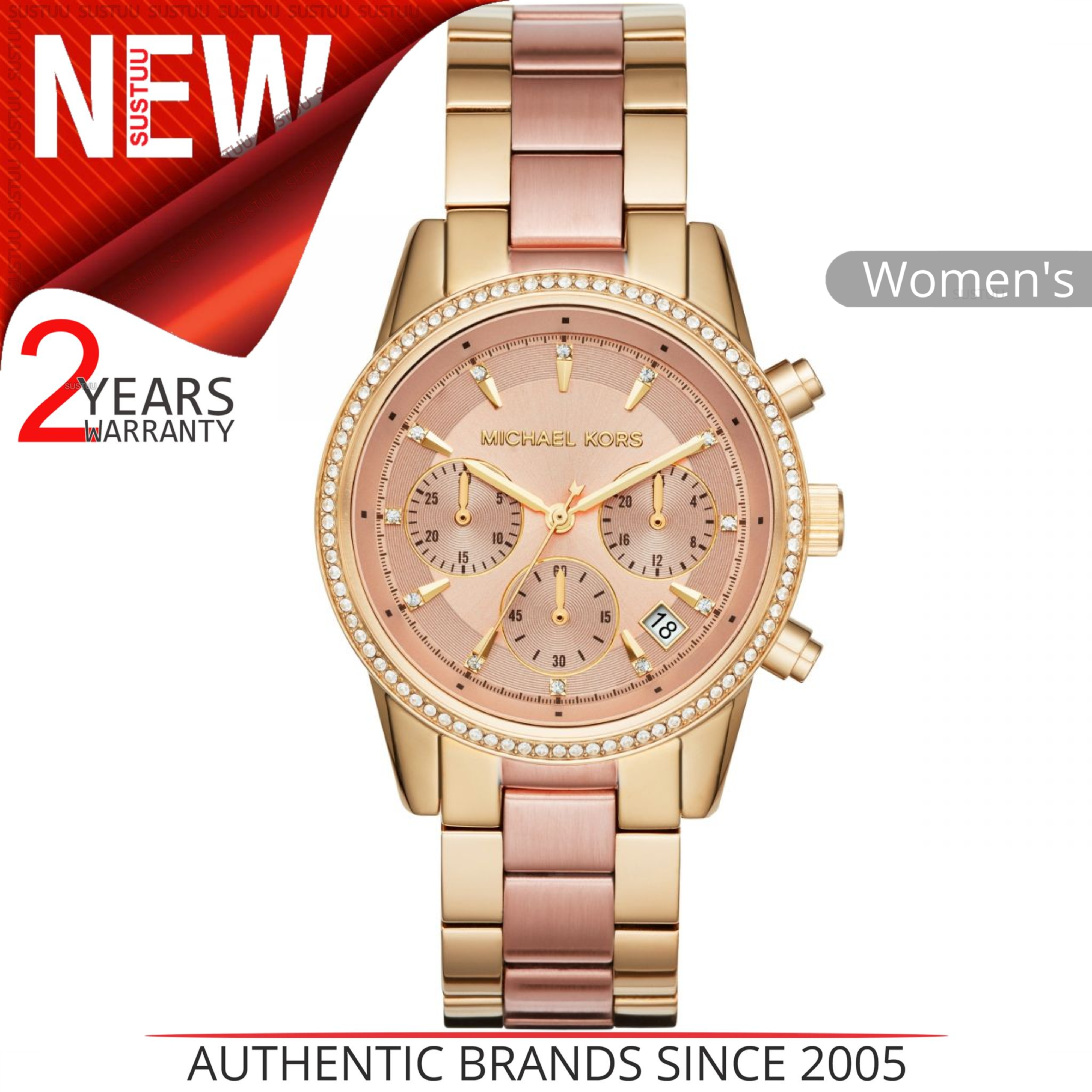 20a607a46e93 Details about Michael Kors Ritz Women s Watch MK6475│Rose Gold Chronograph  Dial│Bracelet Strap