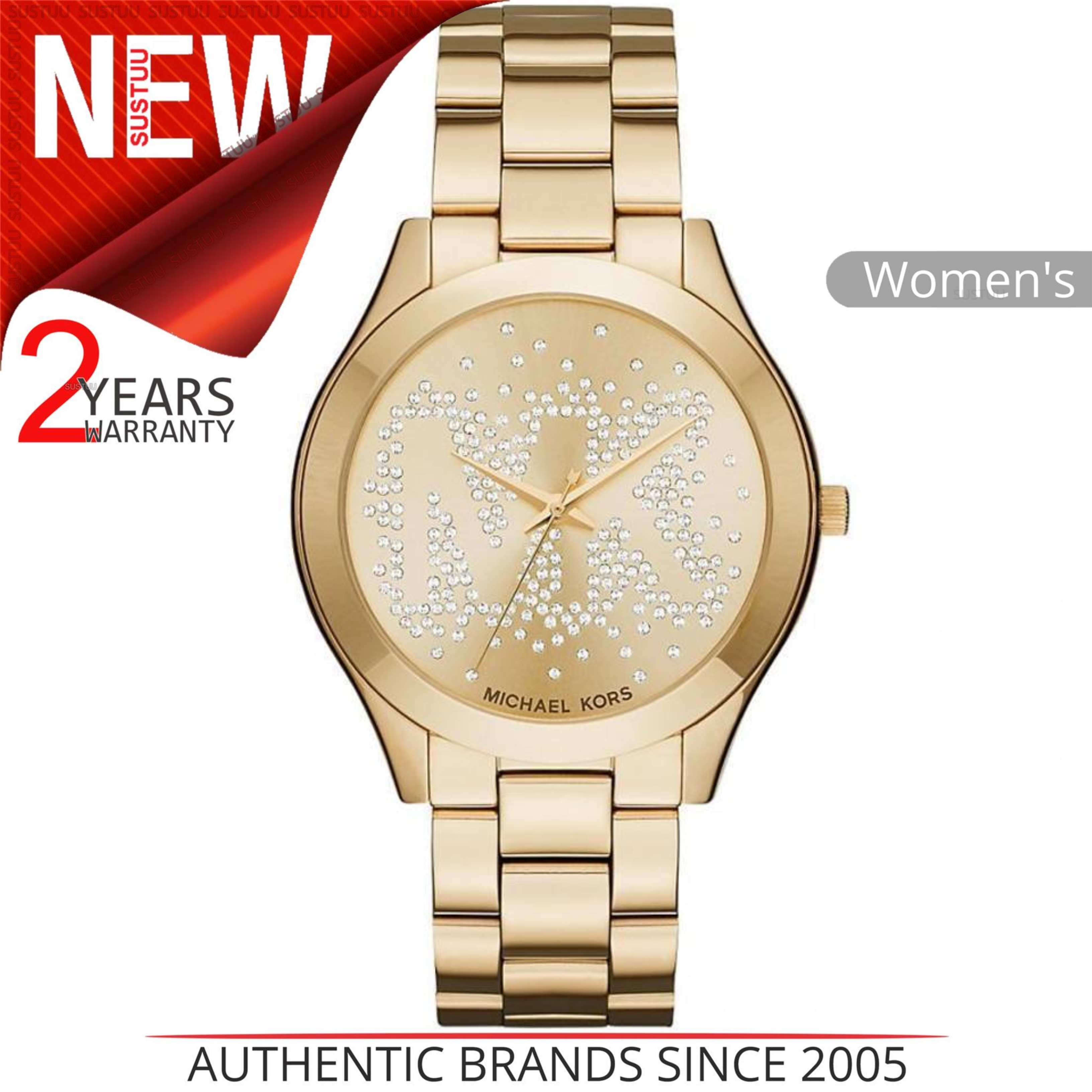 113be858330 Details about Michael Kors Slim Runway Women Watch MK3590│Gold Tone  Bracelet│Crystal Pave Dial