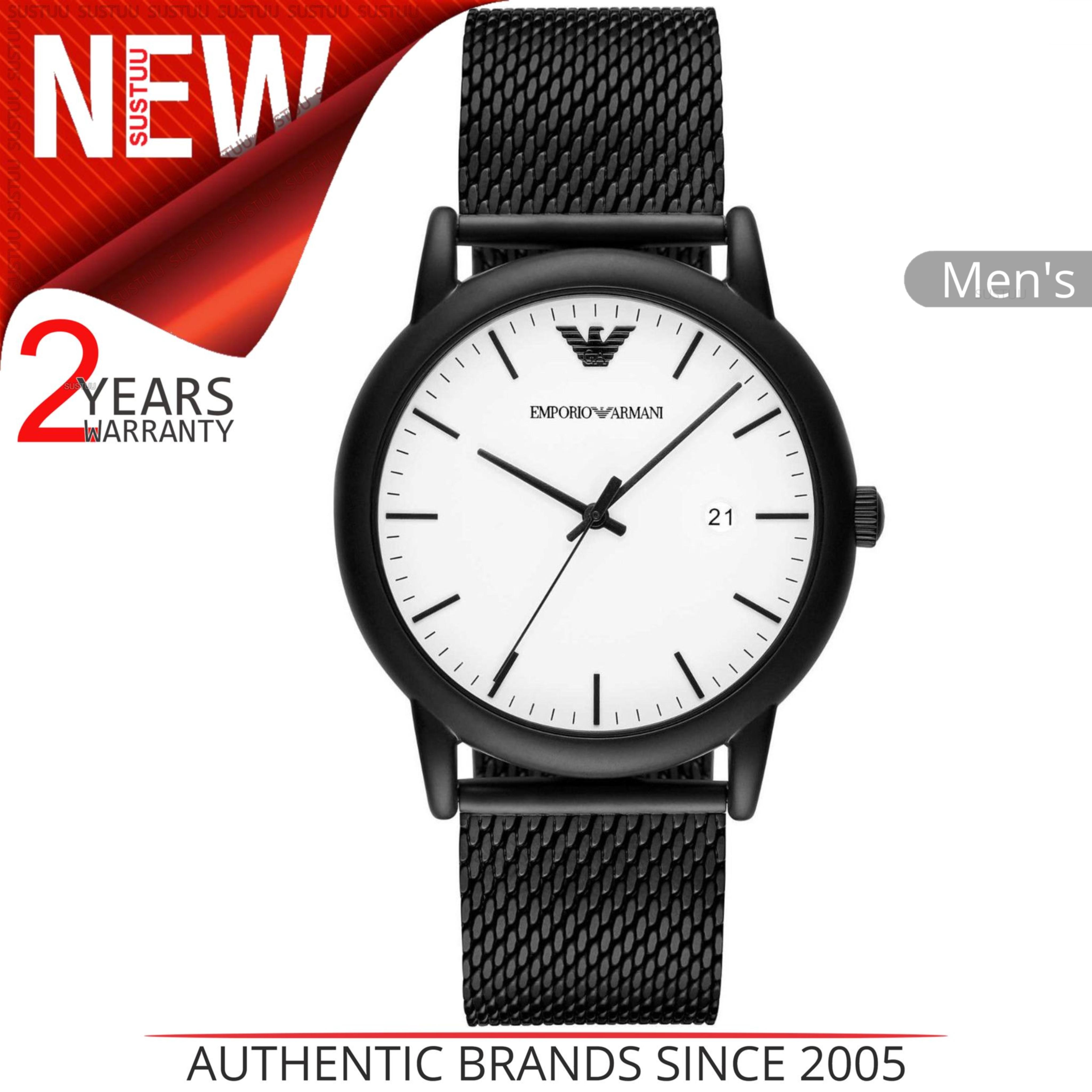cc19f8afc3dc0 Details about Emporio Armani Luigi Men s Wrist Watch│White Dial│Black Mesh  Matel Strap│AR11046