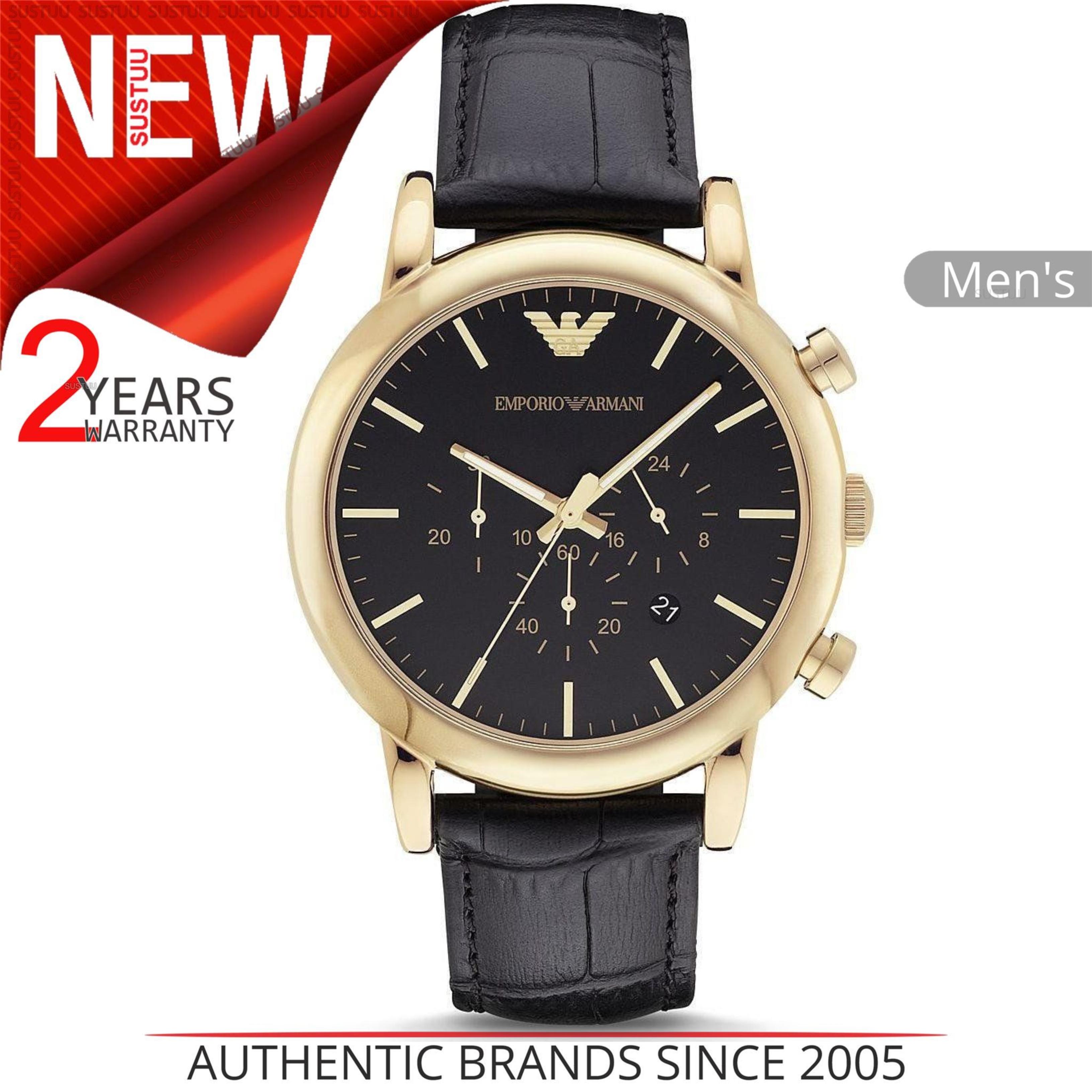 3642c9bde614 CENTINELA Reloj Emporio Armani Luigi para hombre AR1917│ Cronógrafo con  esfera negra St Correa de cuero
