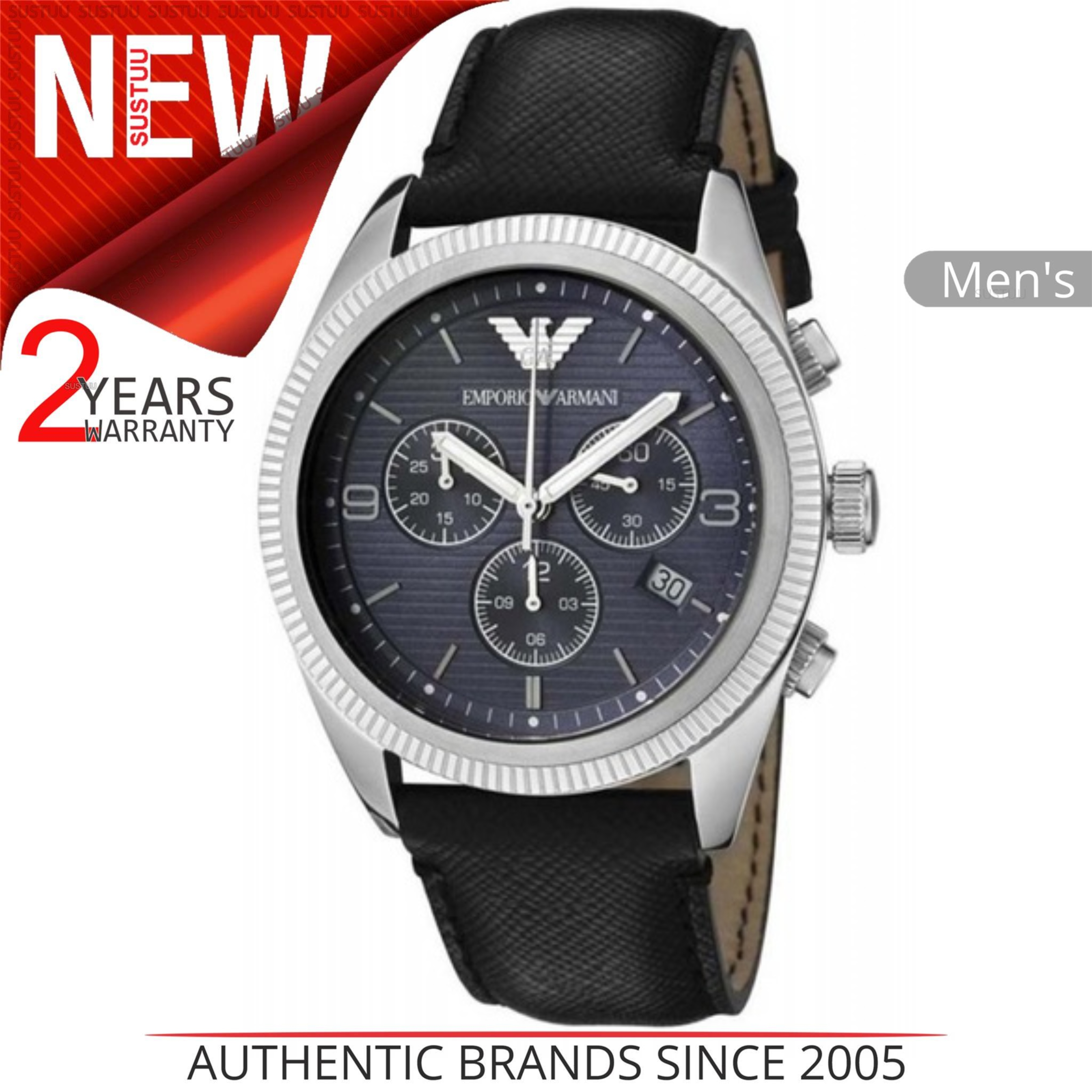 6eb6058c56eb CENTINELA Reloj Emporio Armani Sportivo para hombre AR5896│ Cronógrafo Dial  azul marino Correa de cuero