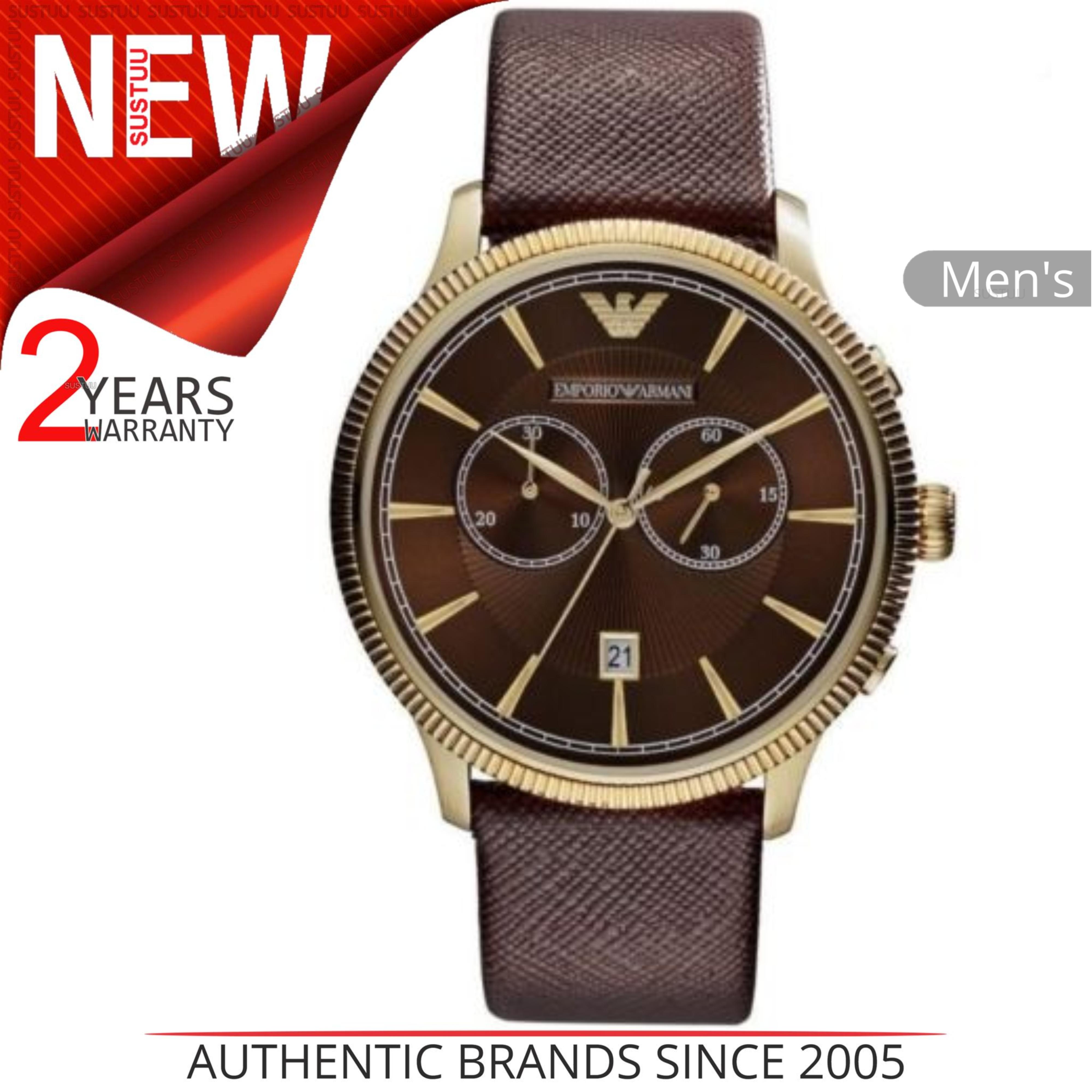 28bae7d018b0 Sentinel Emporio Armani Classic Men s Watch│Chrono Brown Dial│Brown Leather  Strap│AR1793