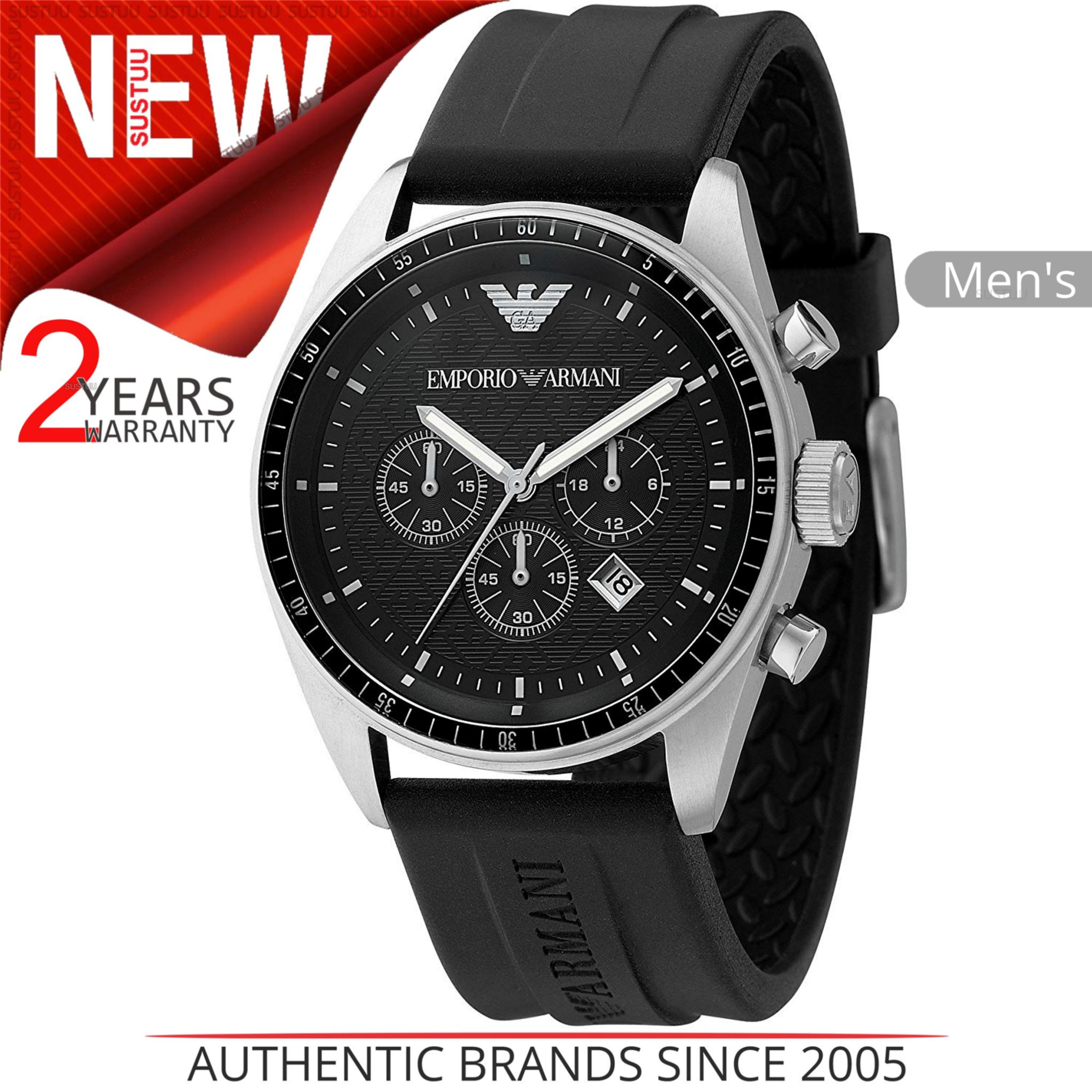 93a60aab2b9d8 Details about Emporio Armani Sportivo Mens Watch│Chronograph Dial│Black  Rubber Strap│AR0527