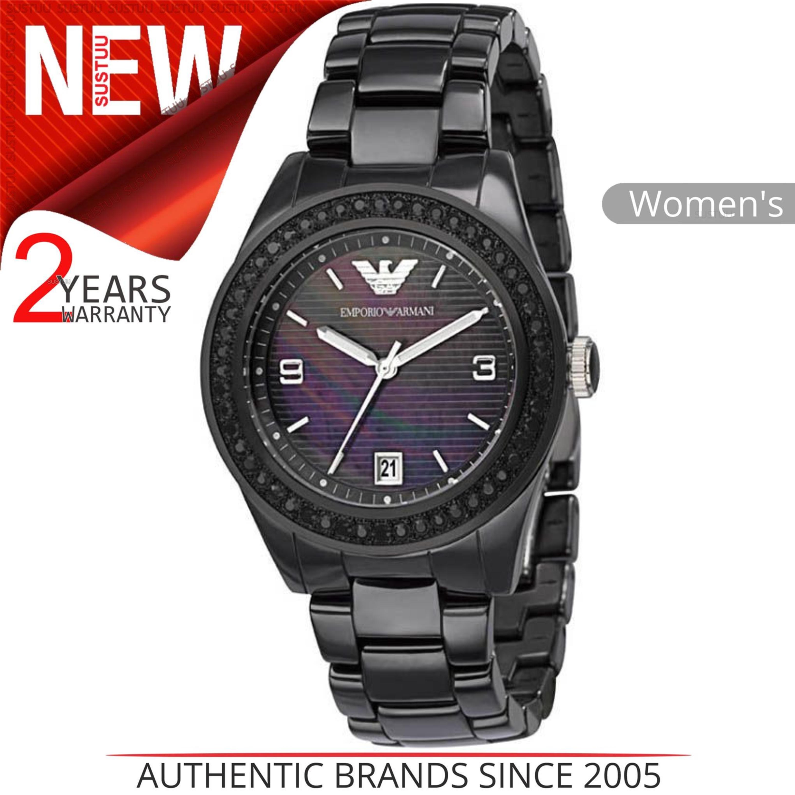 97d933fbd6cc CENTINELA Emporio Armani Ceramica señoras Watch│Black cristal madre de  perla Dial│AR1423