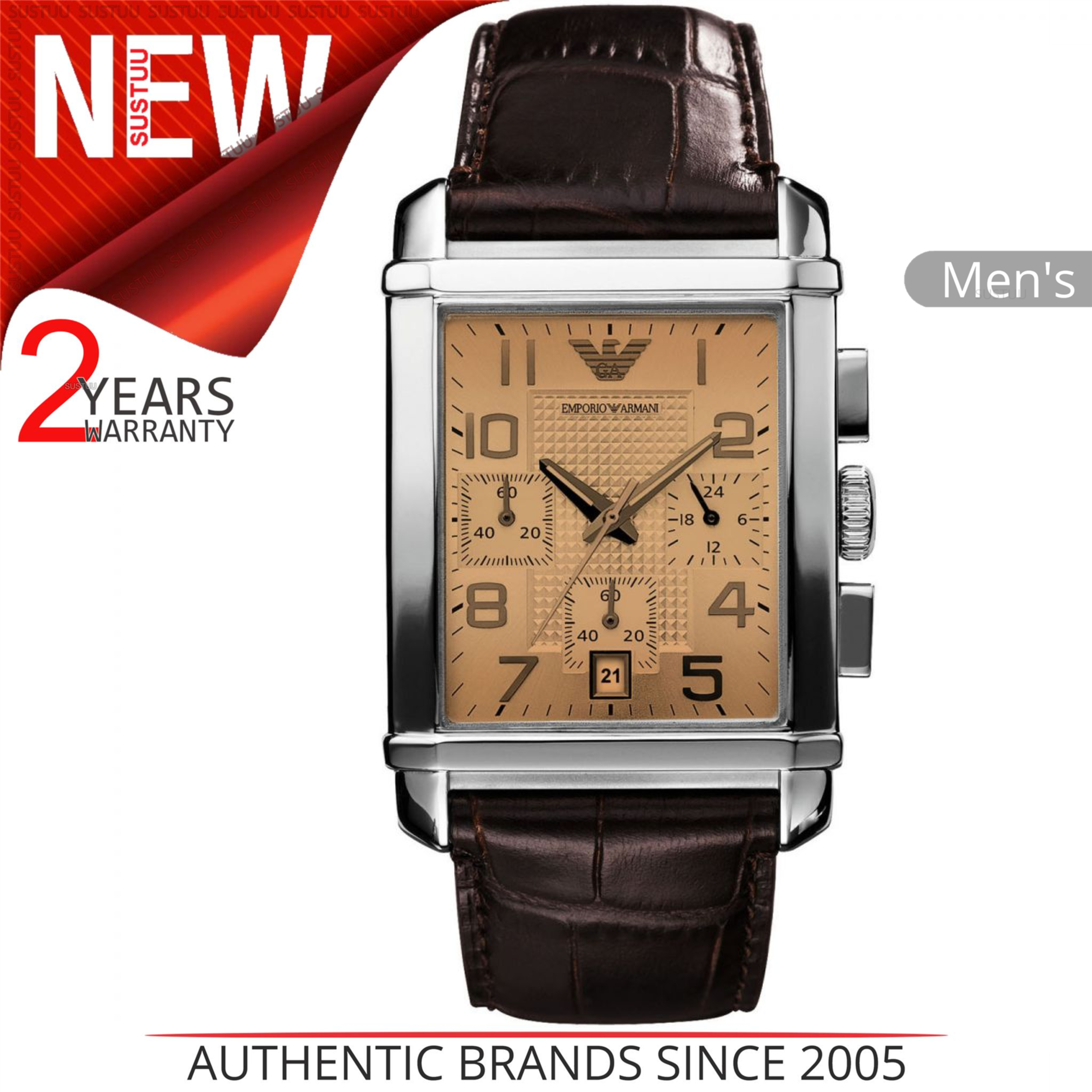88507b449a9 Details about Emporio Armani Classic Men s Watch│Chronograph Brown Dial│ Leather Starp│AR0337