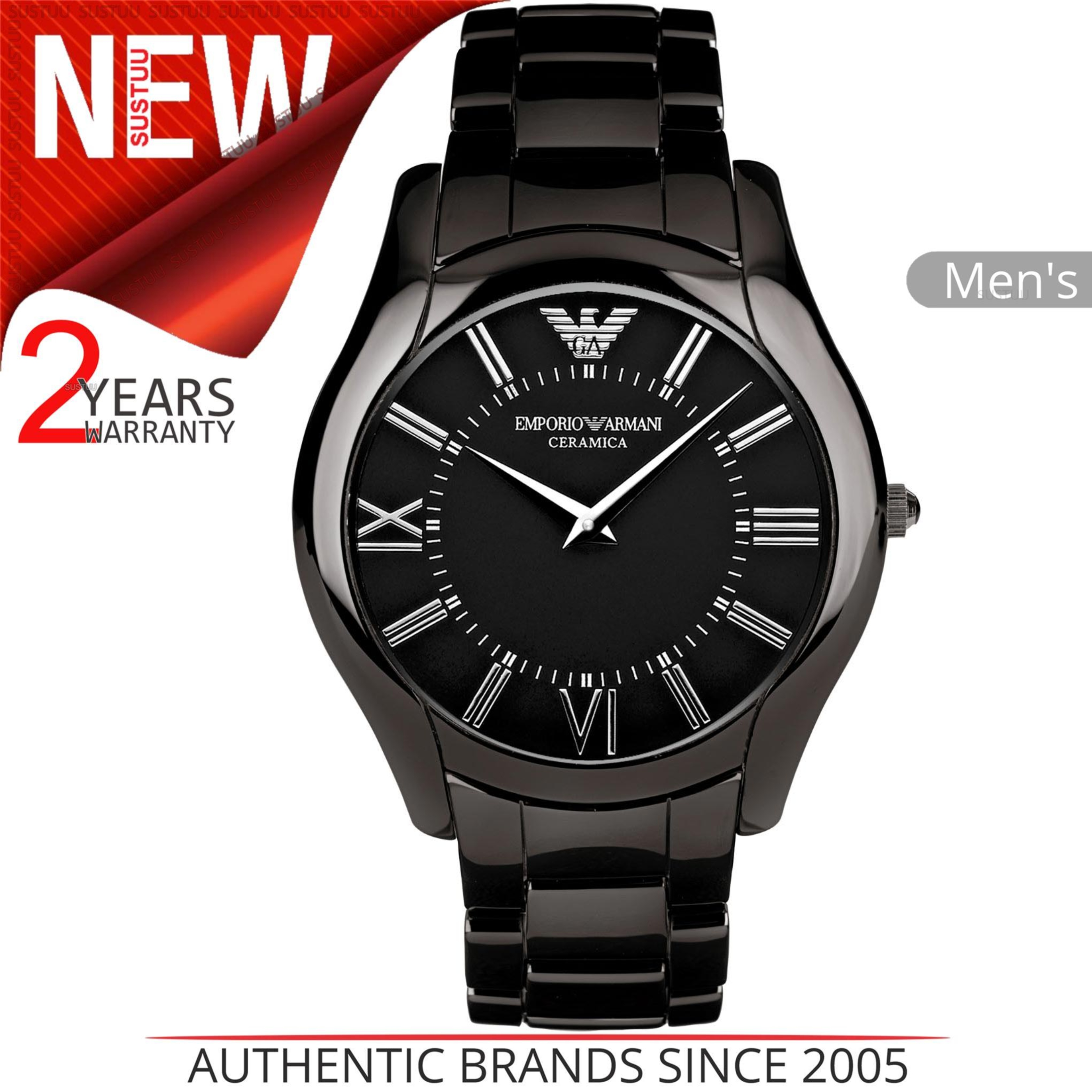 86bb38164ae8 Details about Emporio Armani Ceramica Men s Slim Watch│Black Dial│Ceramic  Bracelet Band│AR1440