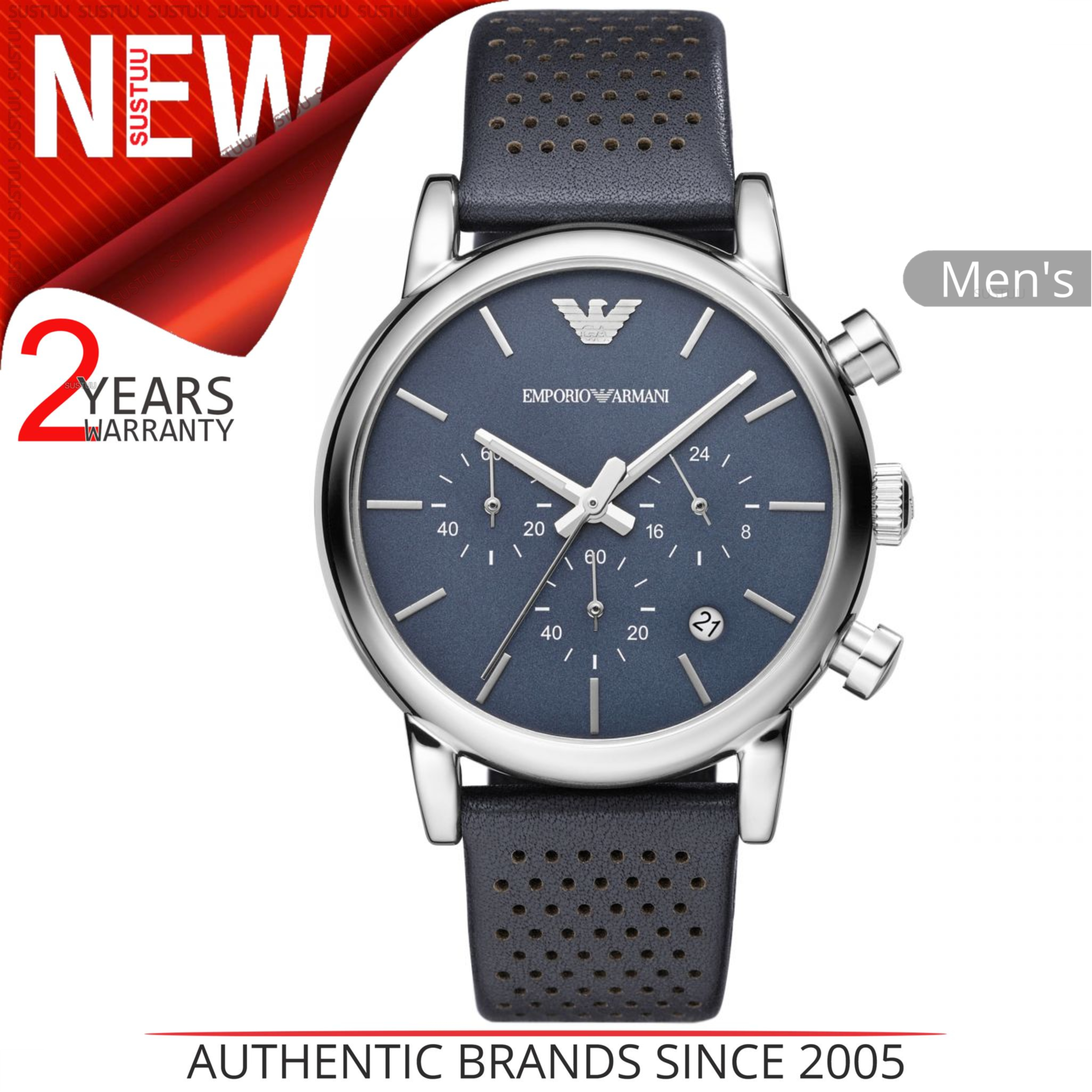 0b8a8b82114 Details about Emporio Armani Classic Men s Watch│Chronograph Blue Dial│blue  Leather Strap│1736