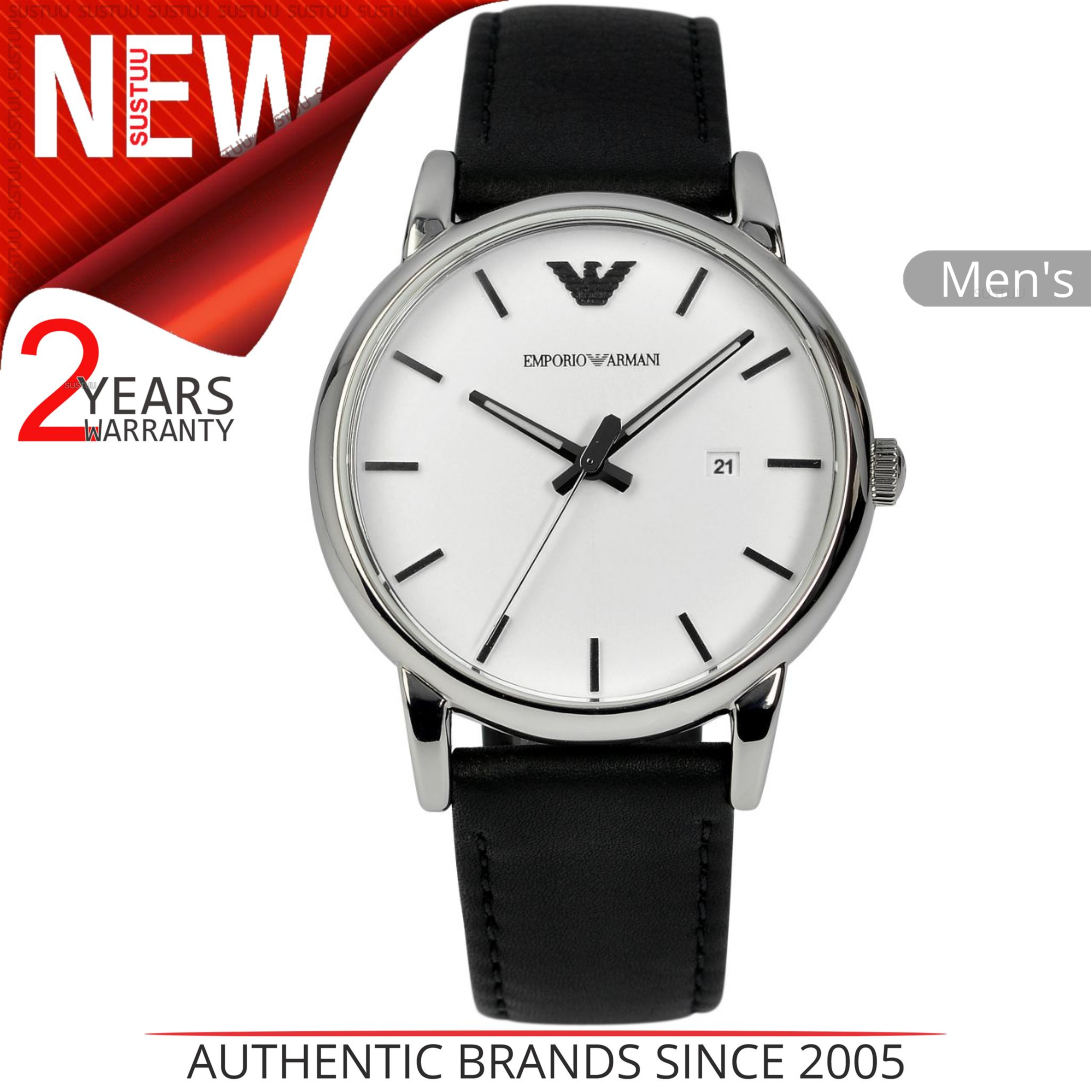 beb7b683c Details about Emporio Armani Classic Men's Watch AR1694│White Round Dial│Black  Leather Strap