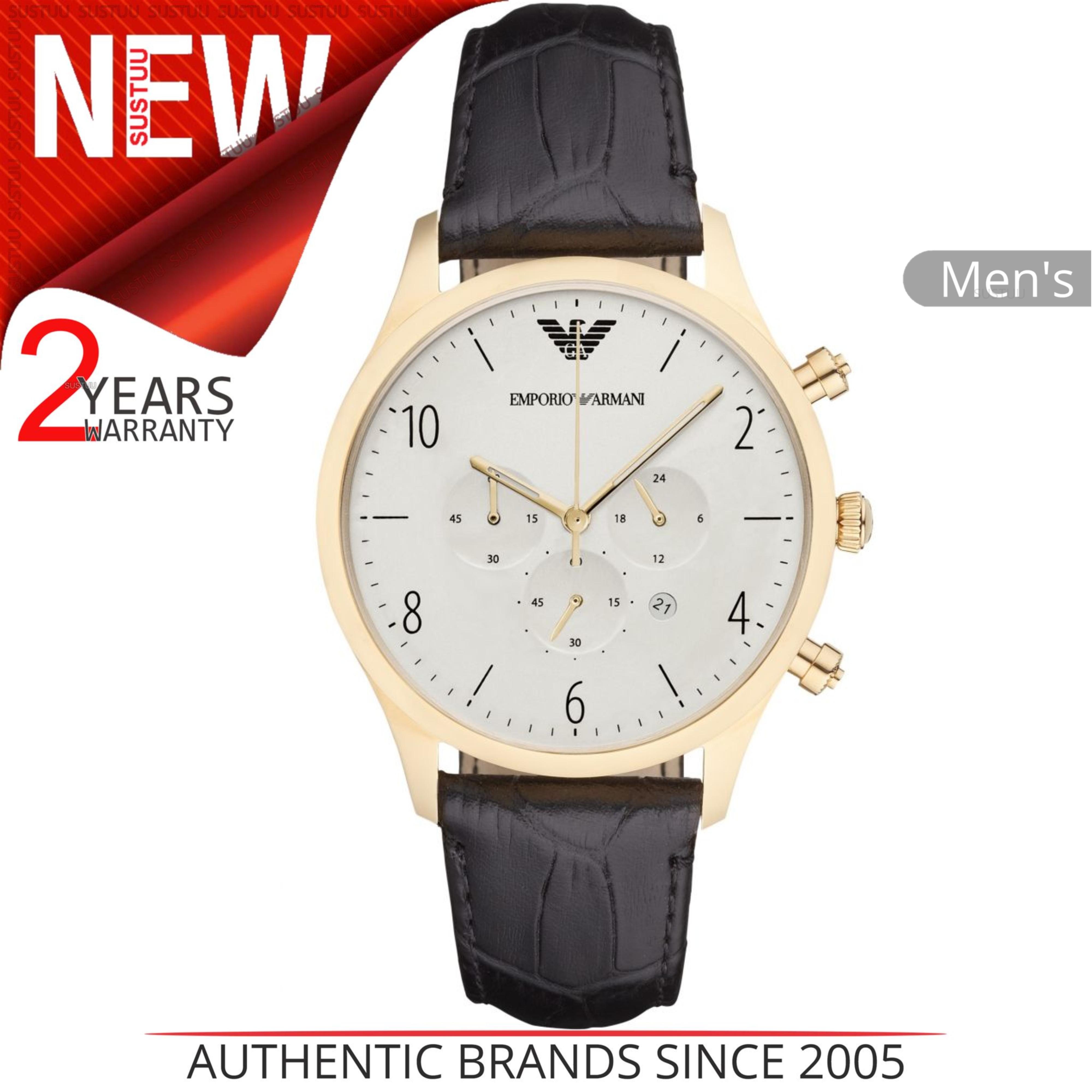 b9632c587492 CENTINELA Reloj Emporio Armani Classic para hombre AR1892 │ Dial blanco  crono │ Correa de cuero negro