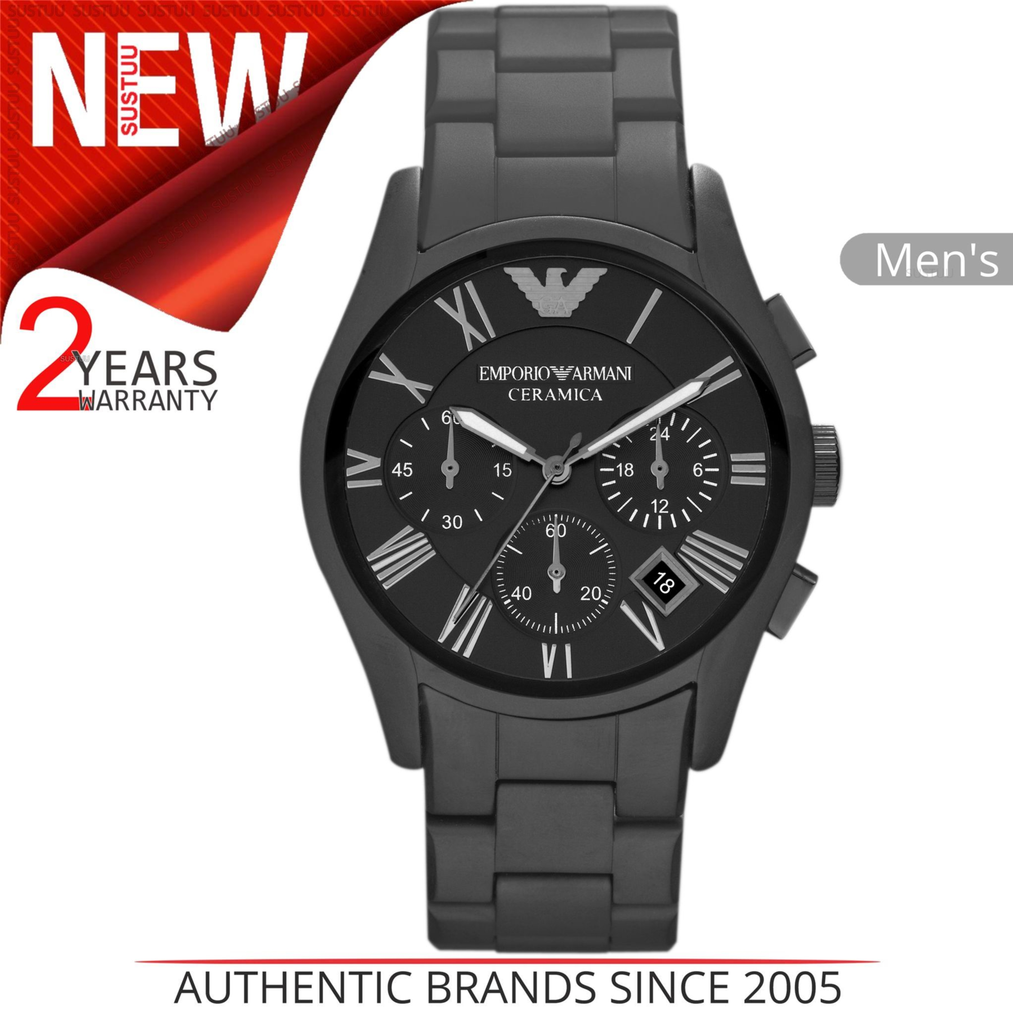 b3cfa355bcc Details about Emporio Armani Ceramica Men s Watch│Chronograph Black Dial│ Ceramic Strap│AR1457