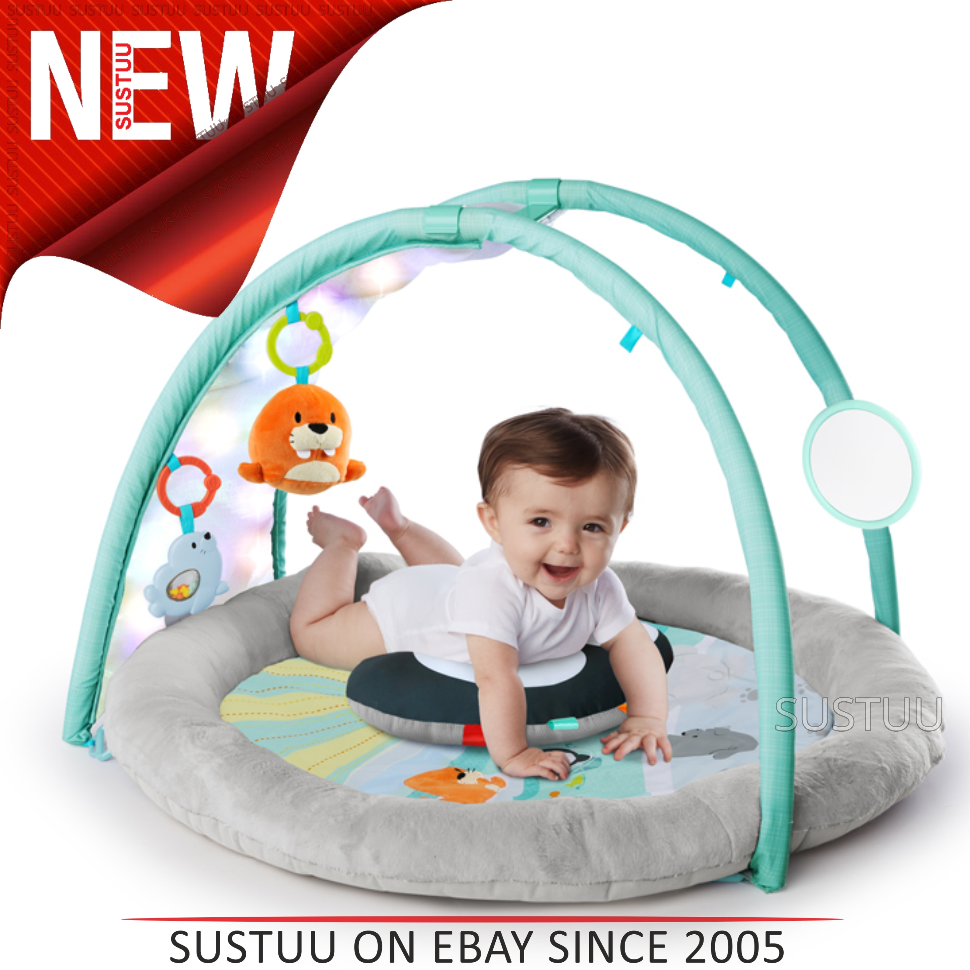 Bright Starts Activity Gym Arctic Glow│baby Kid S Playmat