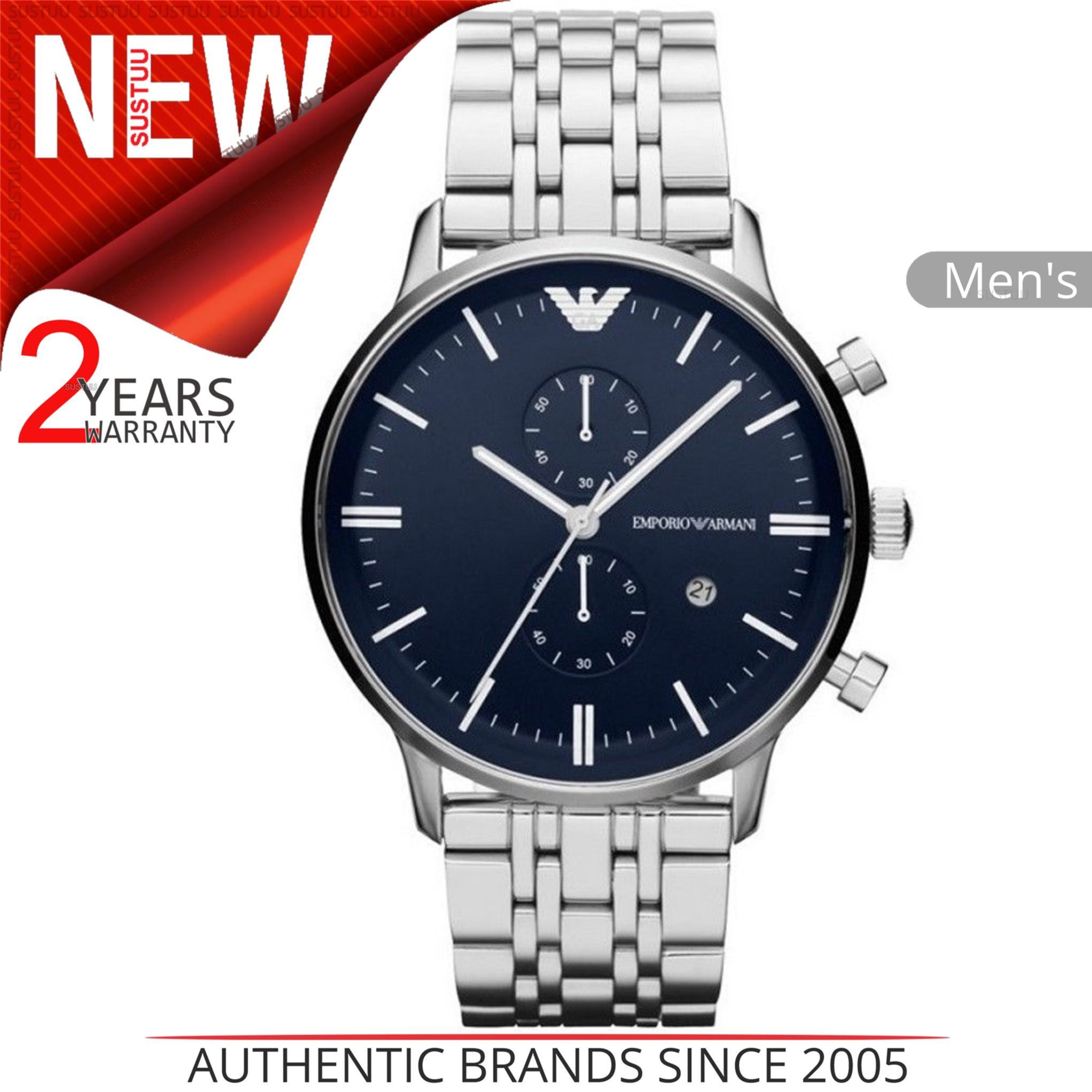 537f463c039a2 Sentinel Emporio Armani Men s Classic Watch│Dark Blue Dial│Stainless Steel  Strap│AR1648