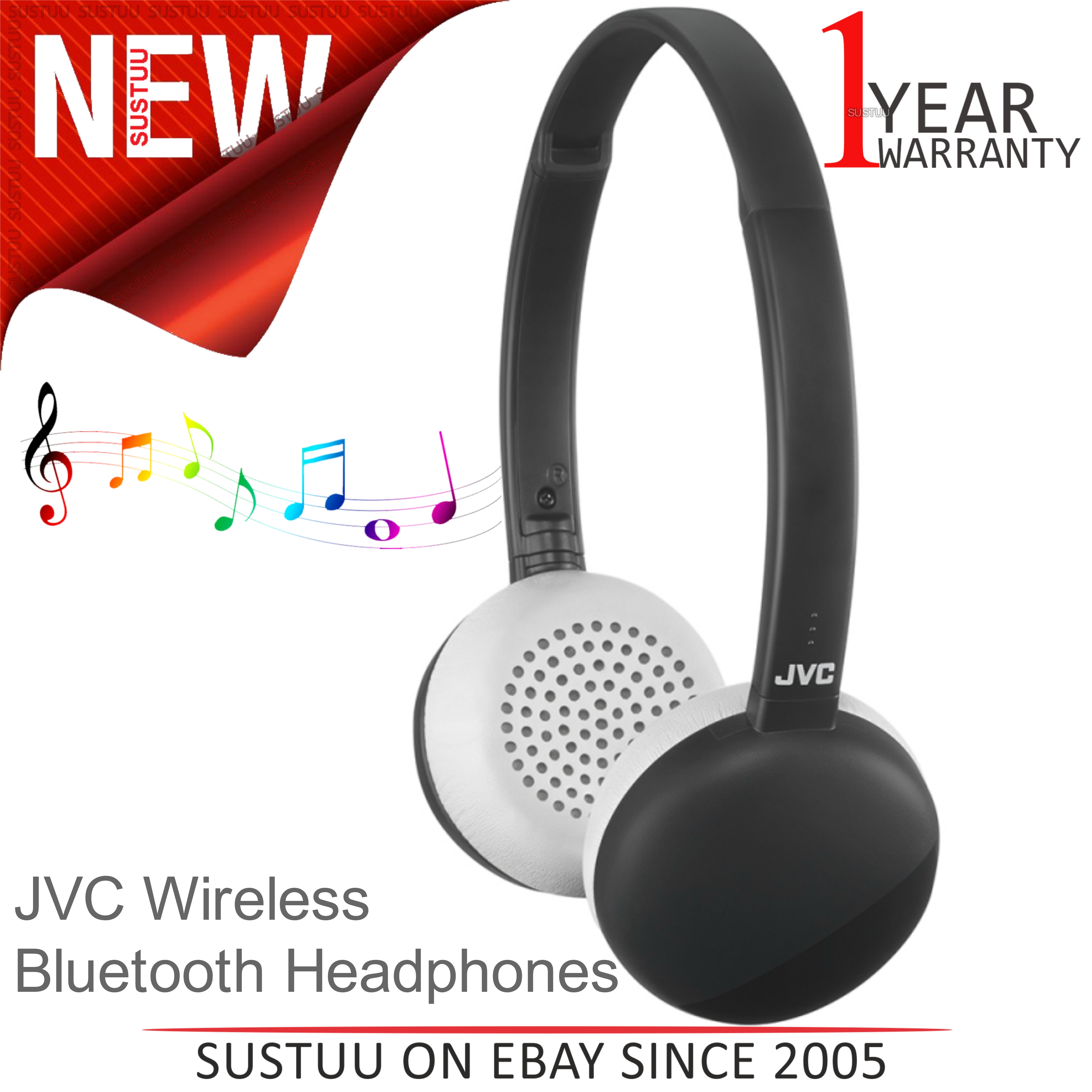 c70fe7ee0c3 Details about JVC HAS20BTBE Flats Wireless Bluetooth Headphones│3 Button  Remote & Mic│Black