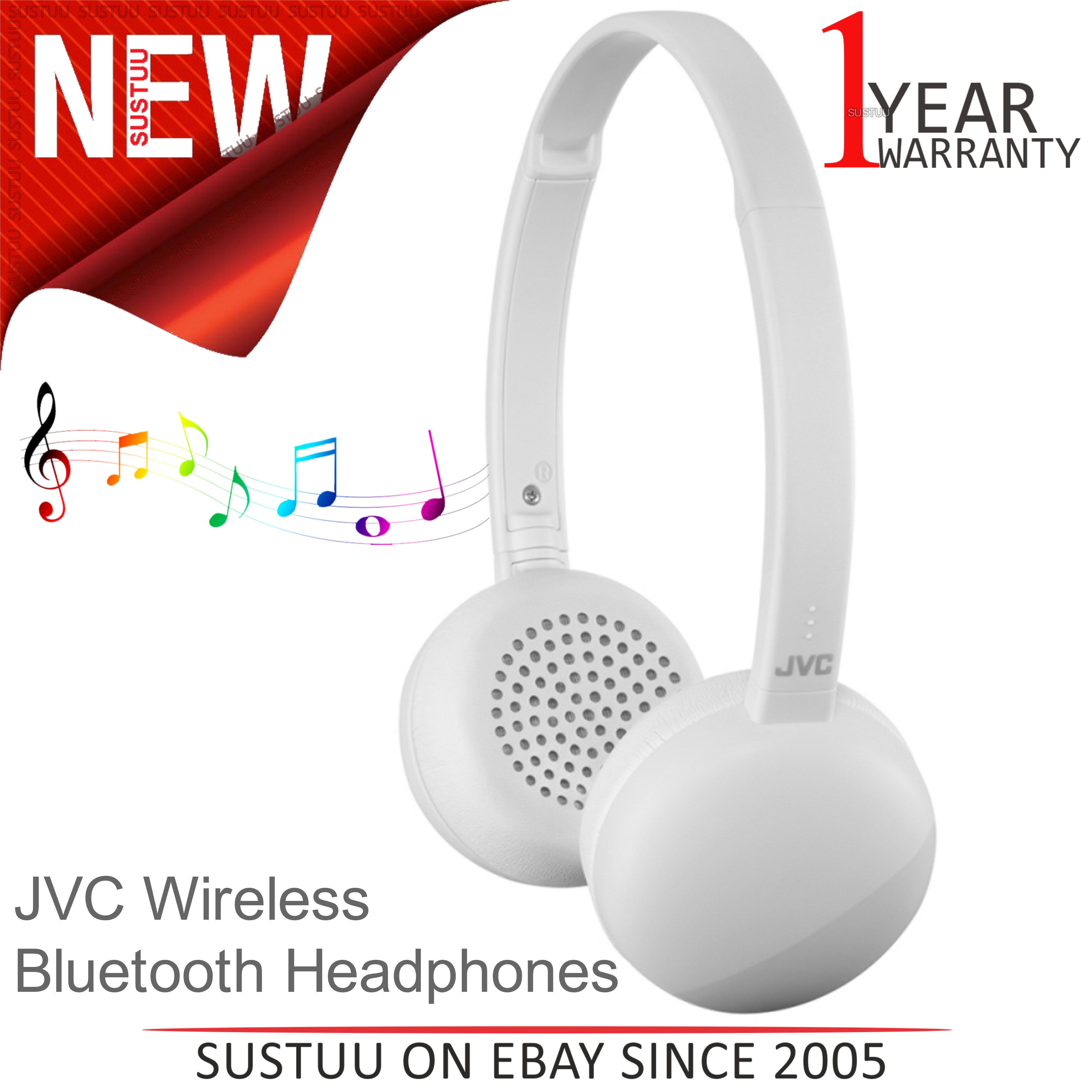 cc93b817624 Details about JVC HAS20BTHE Flats Wireless Bluetooth Headphones│3 Button  Remote & Mic│White│