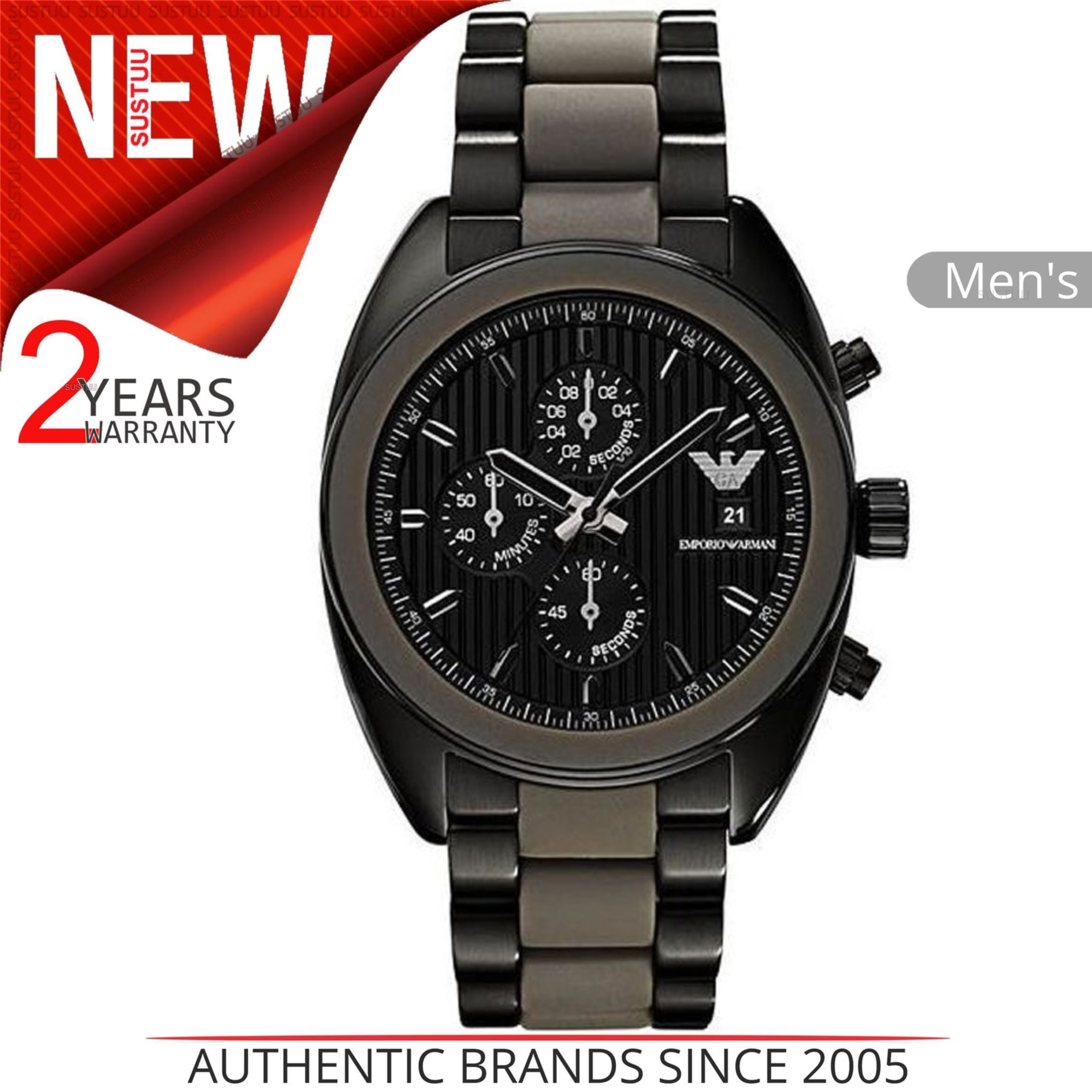 9138fbe7afb05 Details about Emporio Armani Sportivo Men s Watch│Black Chronograph  Dial│Stainless Band│AR5953