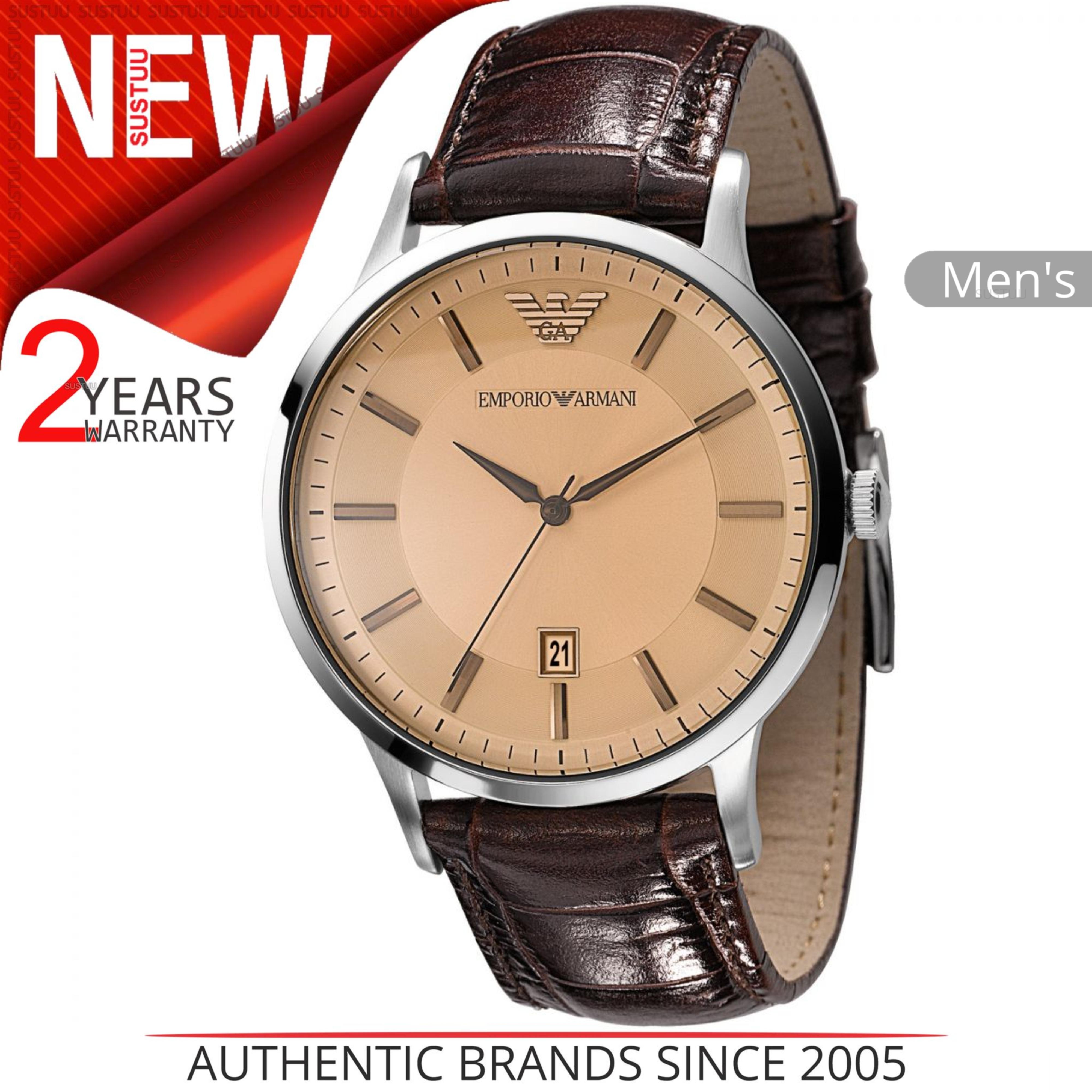 64858a7eb5de CENTINELA Reloj Emporio Armani Classic para hombre AR2427 Dial de color  salmón redondo Correa de cuero marrón