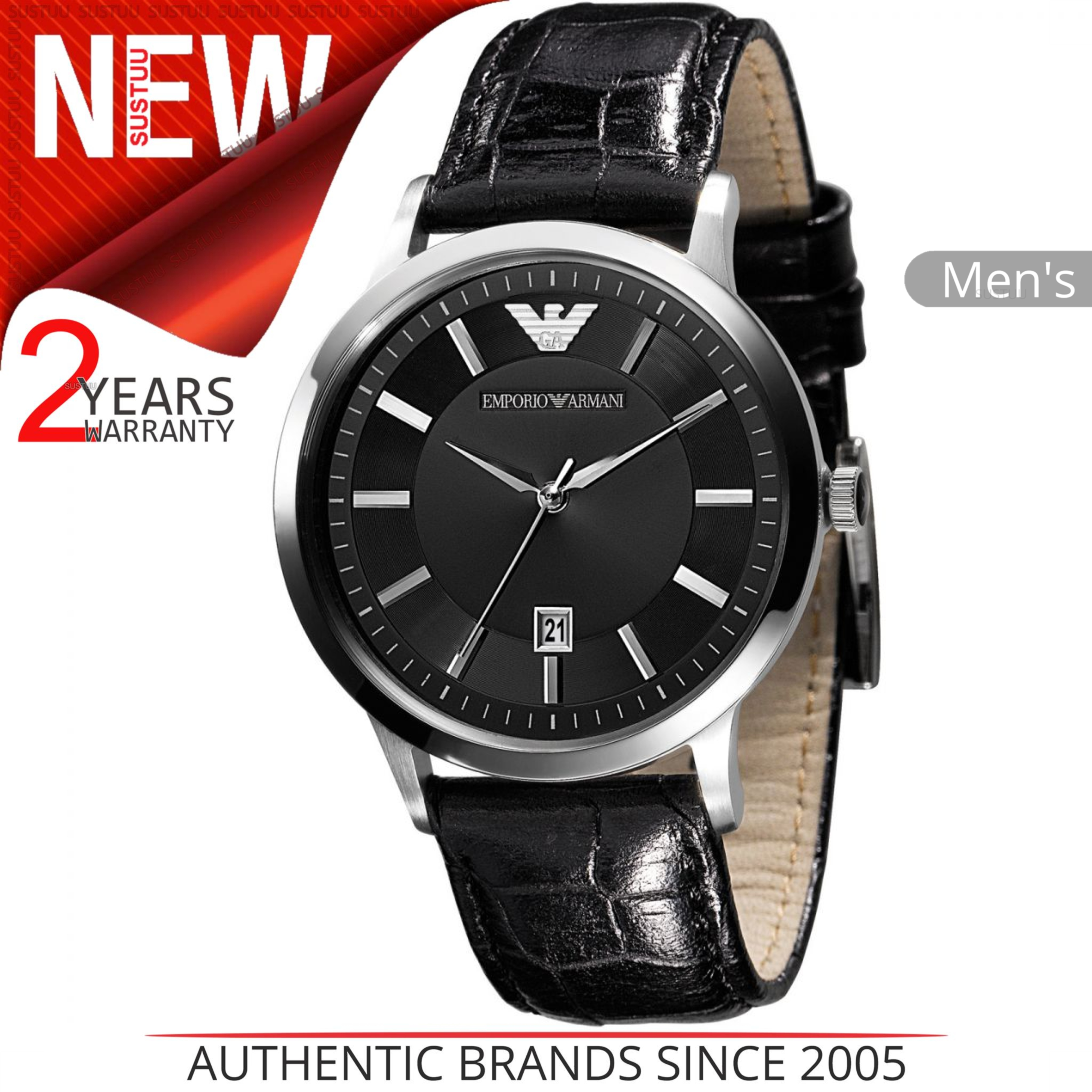 1ba244942195 Sentinel Emporio Armani Classic Men s Watch│Round Black Dial│Black Leather  Strap│AR2429. Sentinel Thumbnail 2