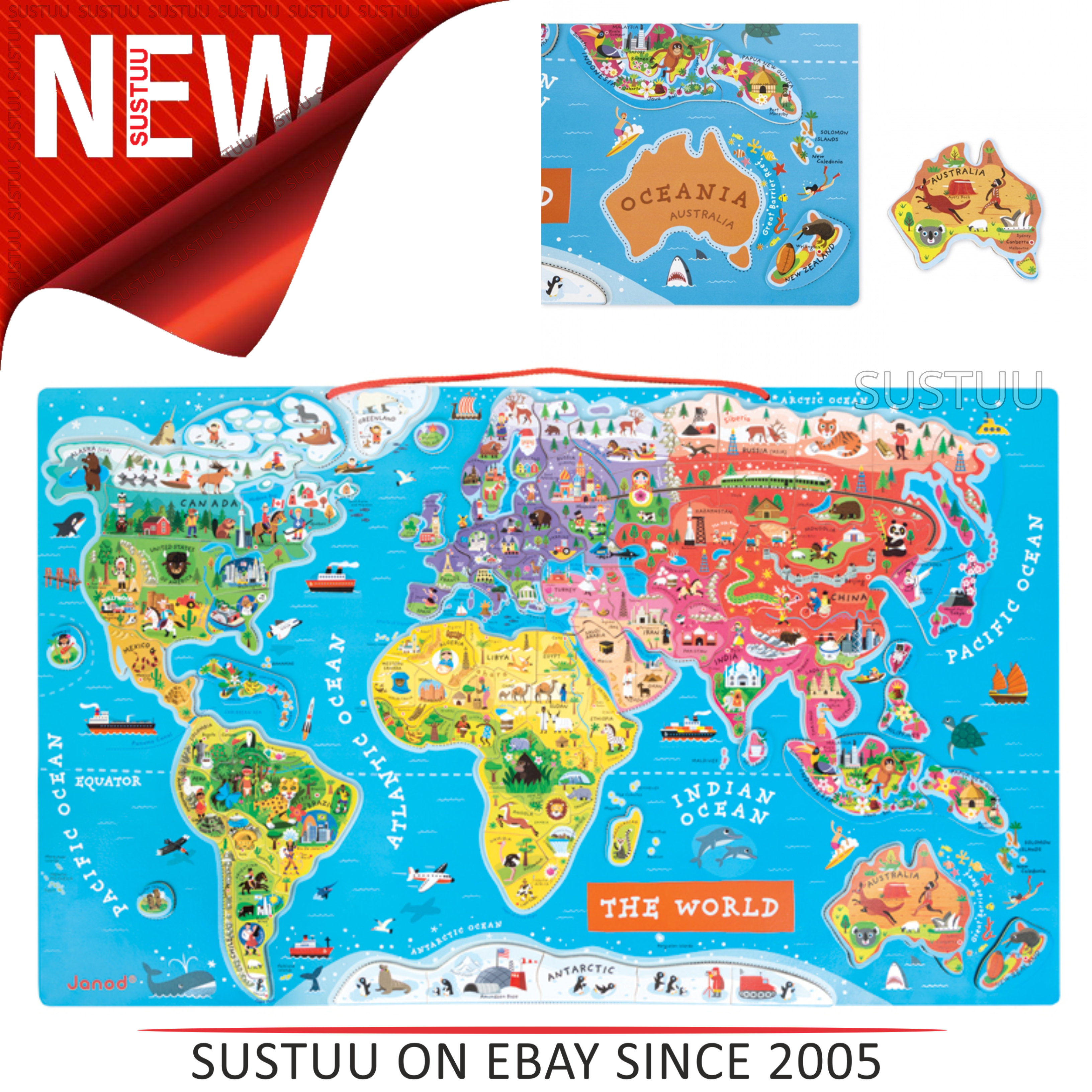 Janod World Map.Janod Magnetic World Map Puzzle Includes 92 Magnetic Pieces 7 To