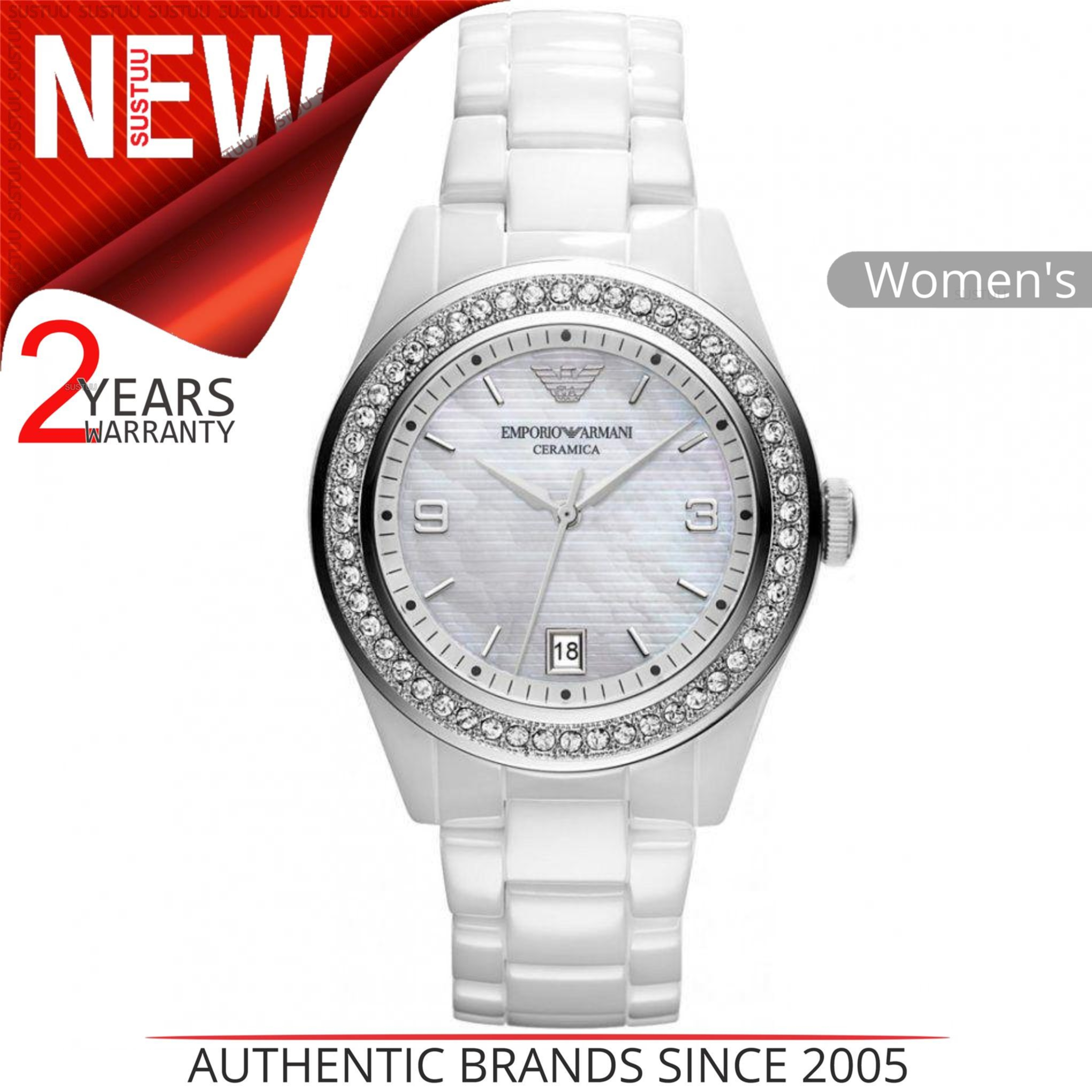 Sentinel Emporio Armani Ceramica Ladies Watch│Mother of Pearl Dial│Crystal  Case│AR1426 b27a3c7472