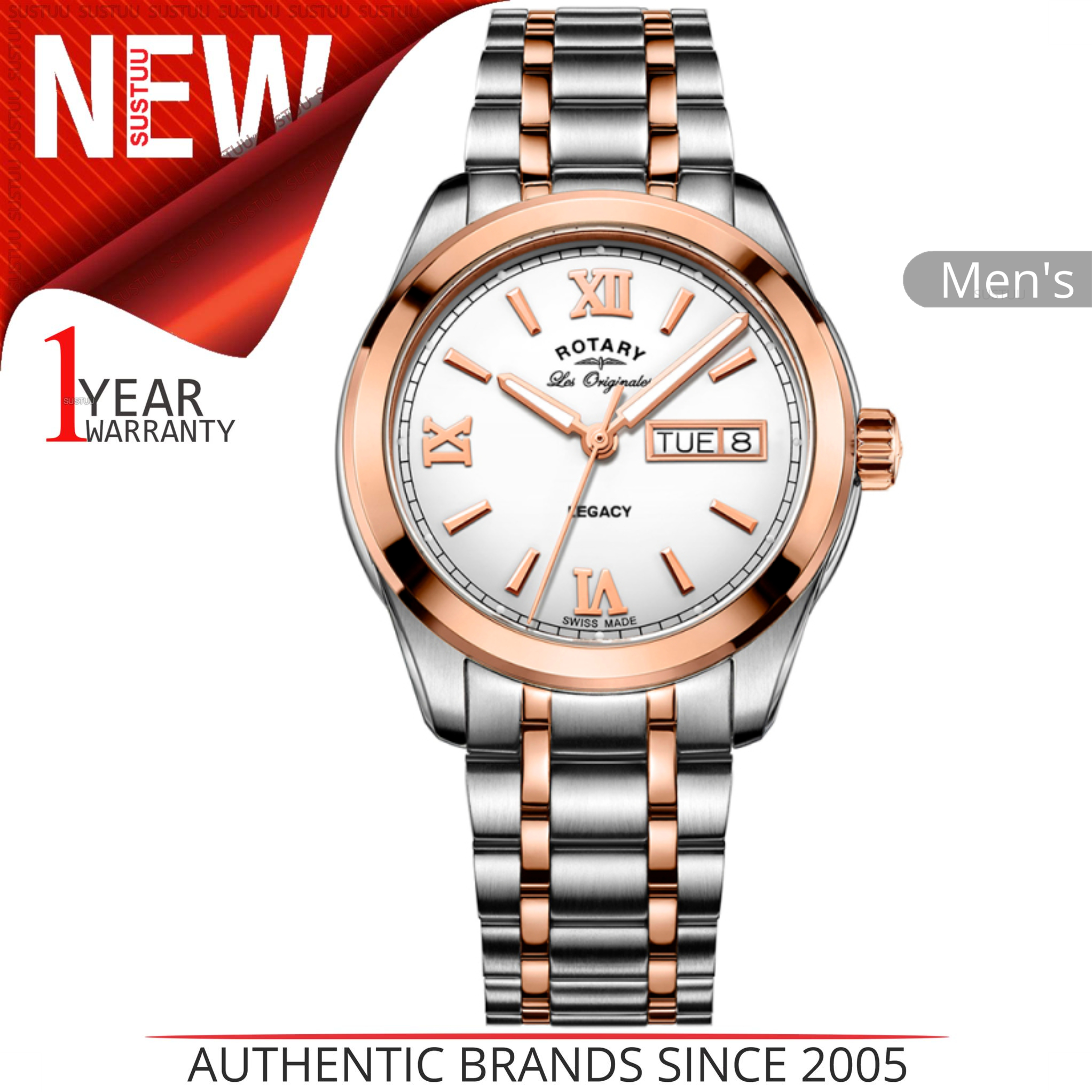 0e57686904f3 Details about Rotary Legacy Men s Watch│Roman Numerals Dial│Dual Tone  Bracelet Band│GB90175 06