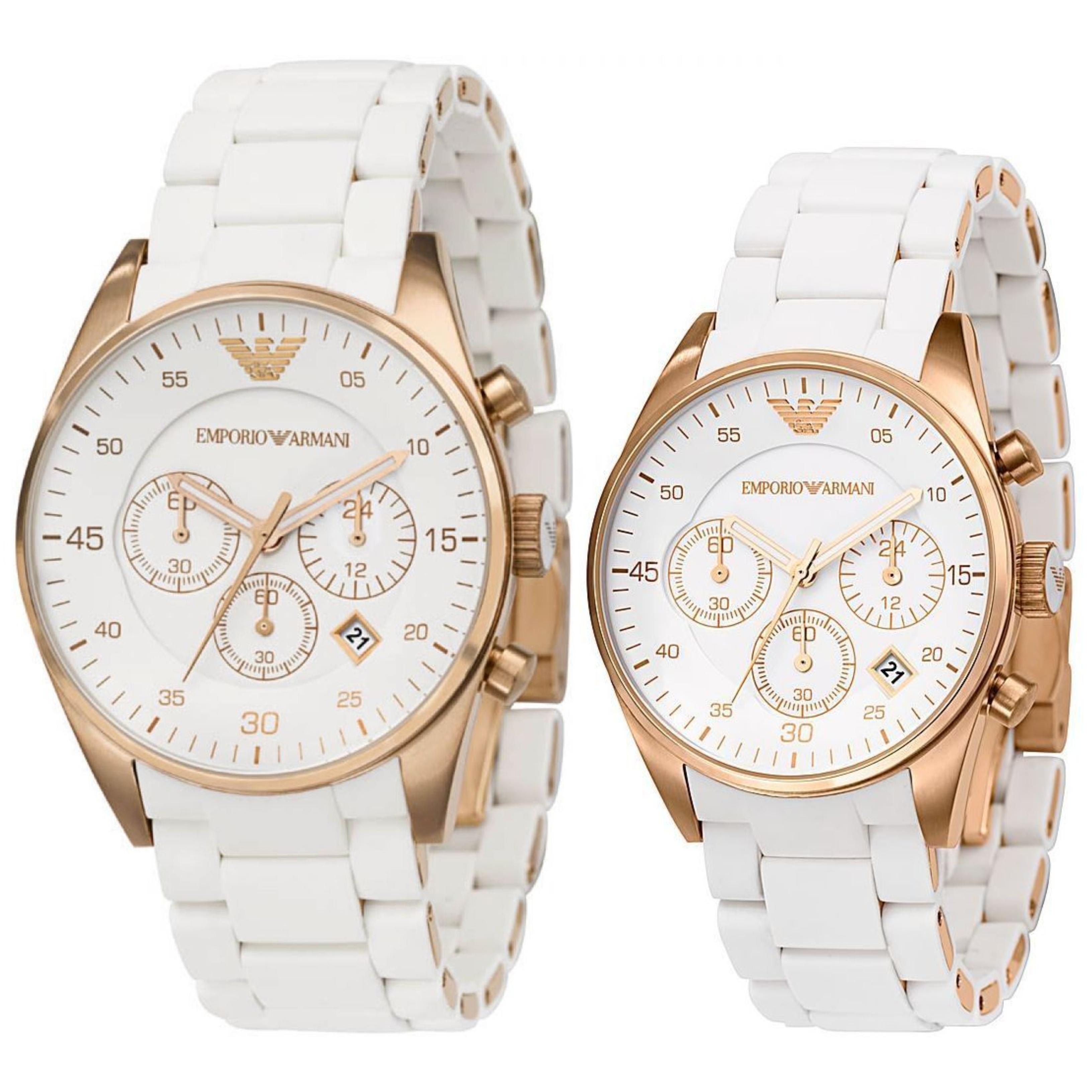 ae389e16dba Details about Emporio Armani Sportivo Couple Watch│Chronograph White  Dial│Silicon Bracelet