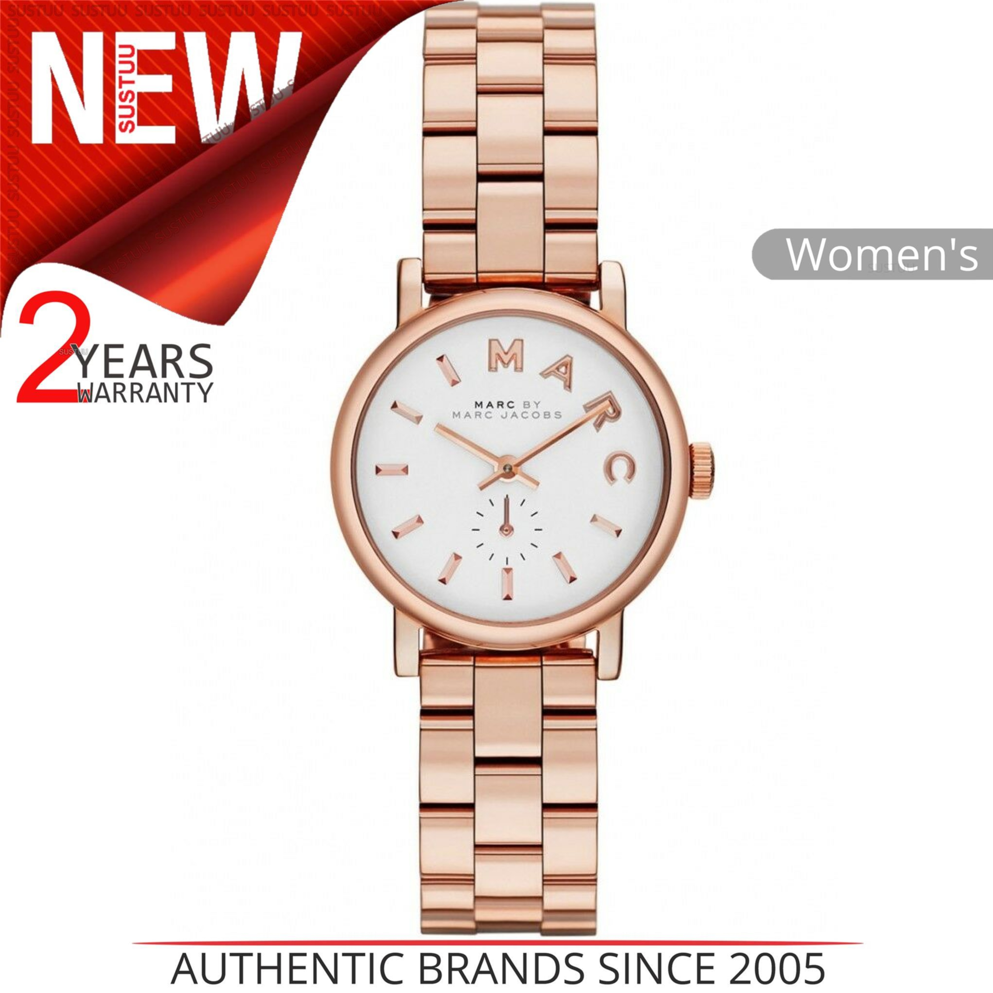 Marc Jacobs Baker Ladies Watch White Dial Rose Gold Stainless