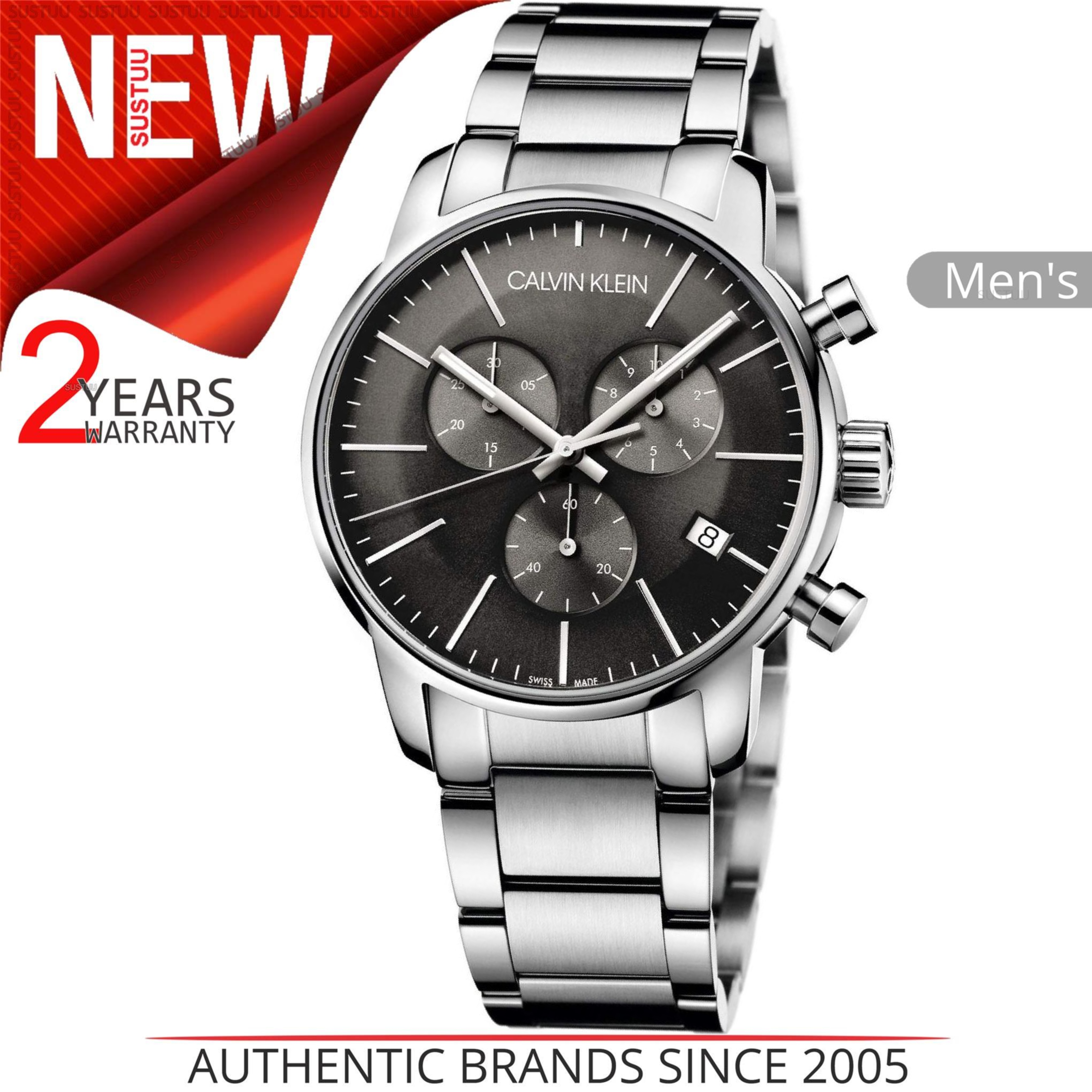 fdf064e50 Sentinel Calvin Klein City Men's Watch K2G27143│Chronograph Black Dial│ Stainless Strap